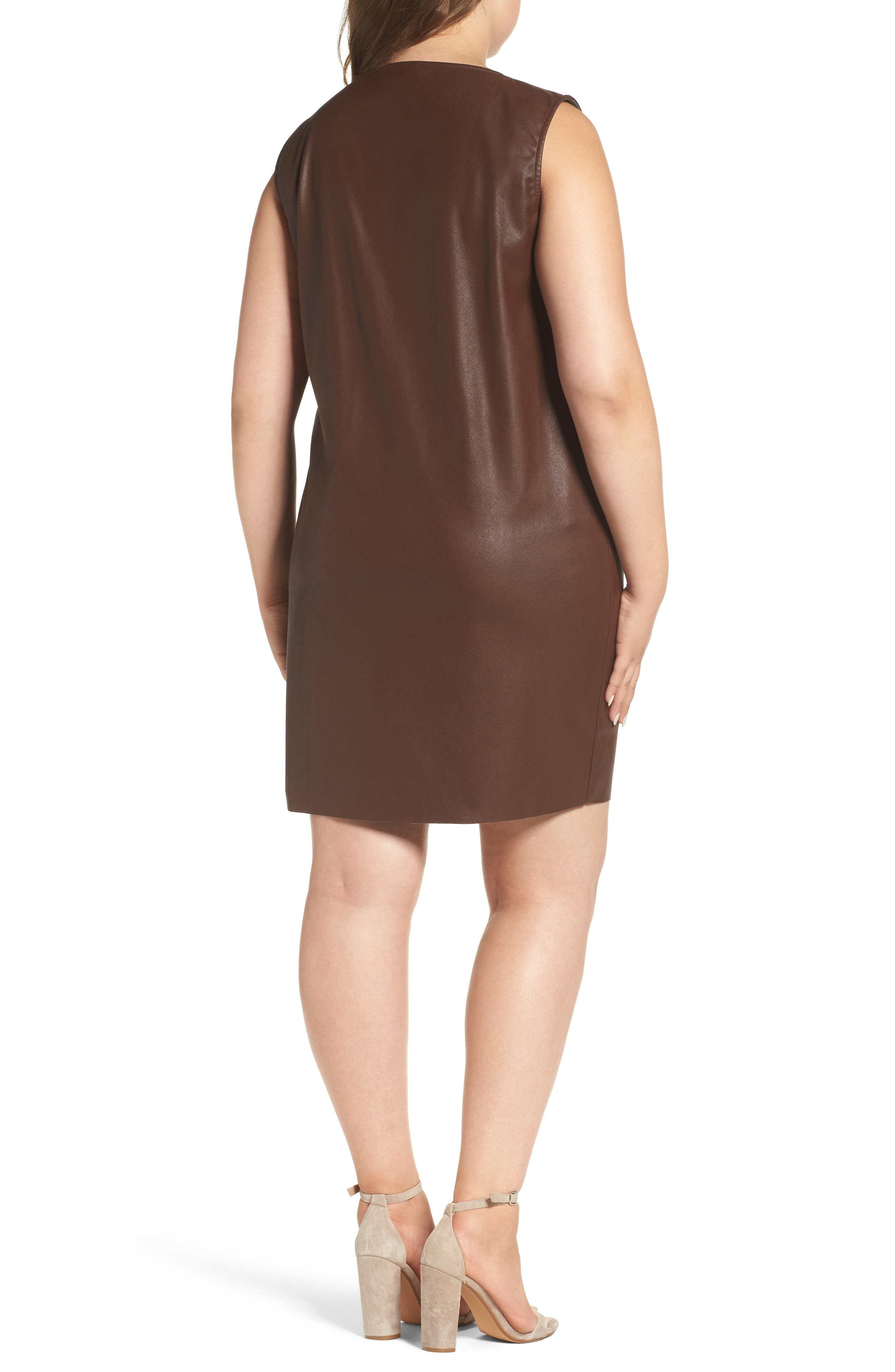 Faux Leather Shift Dress,                             Alternate thumbnail 2, color,                             230