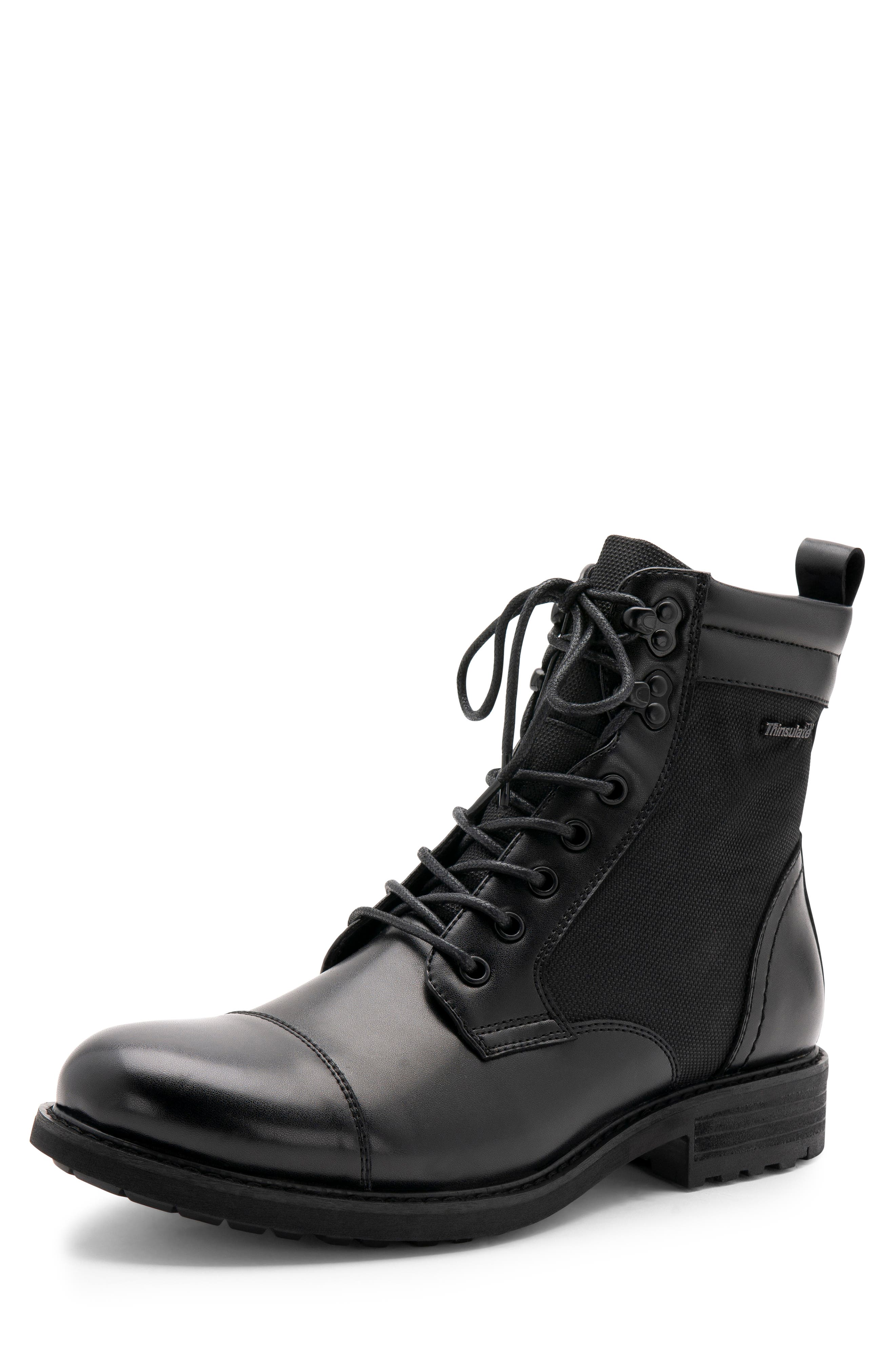 Paxton Waterproof Cap Toe Boot,                             Alternate thumbnail 8, color,                             BLACK LEATHER