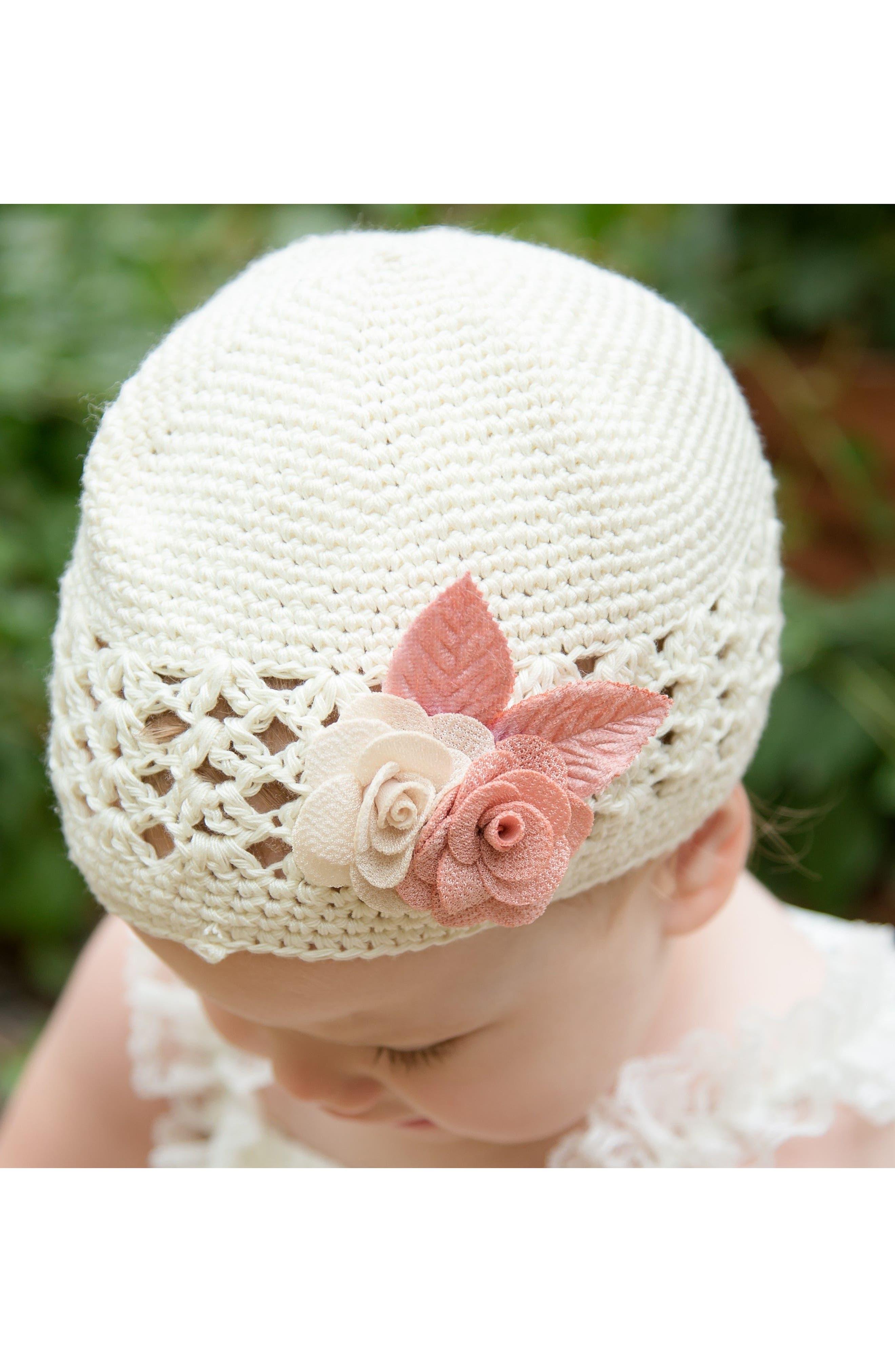 PLH BOWS,                             Linen Flower Crochet Hat,                             Alternate thumbnail 3, color,                             120