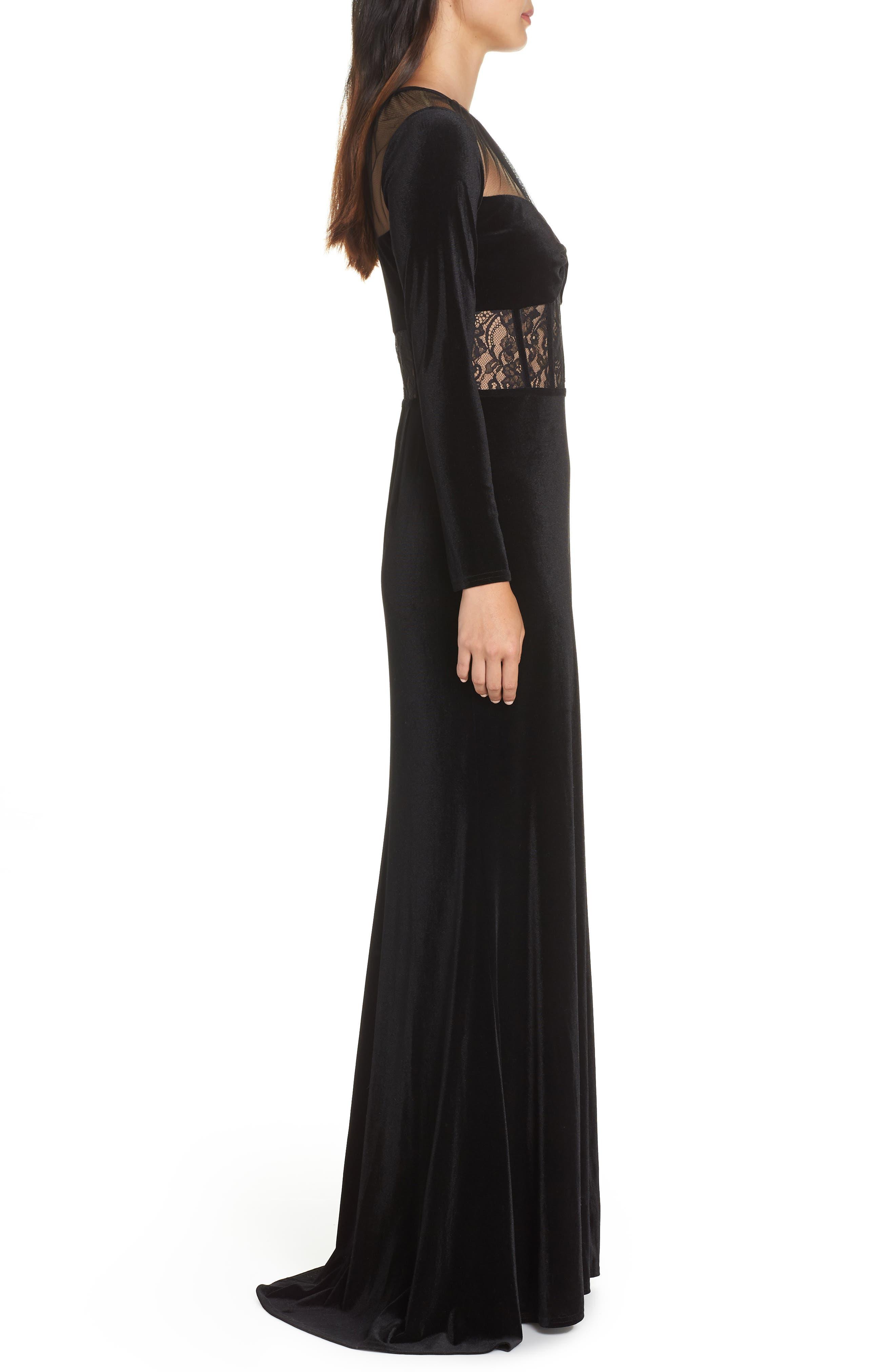 Lace & Velvet Gown,                             Alternate thumbnail 3, color,                             BLACK/ NUDE