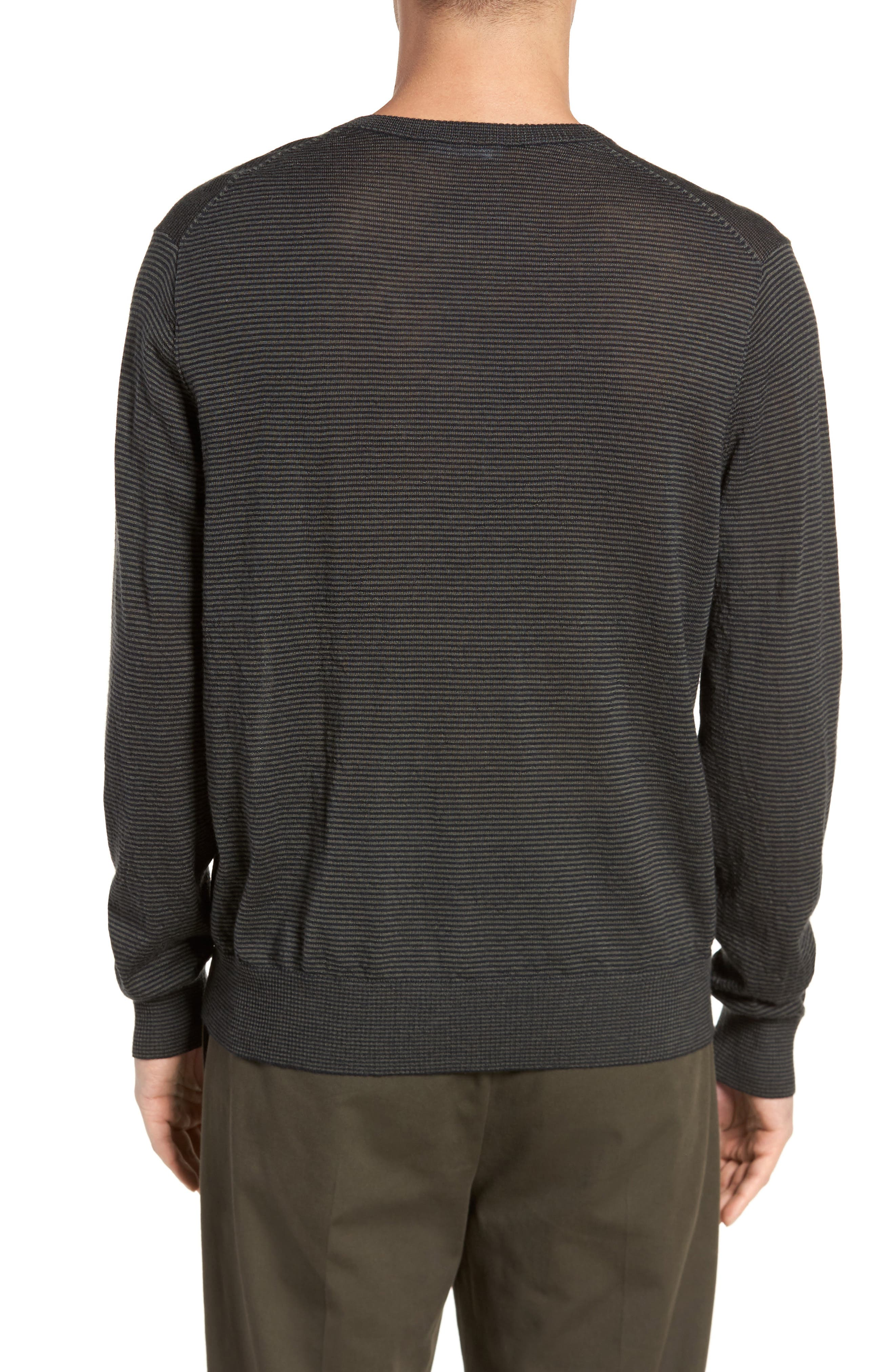 Regular Fit Pinstripe Wool Sweater,                             Alternate thumbnail 2, color,                             400