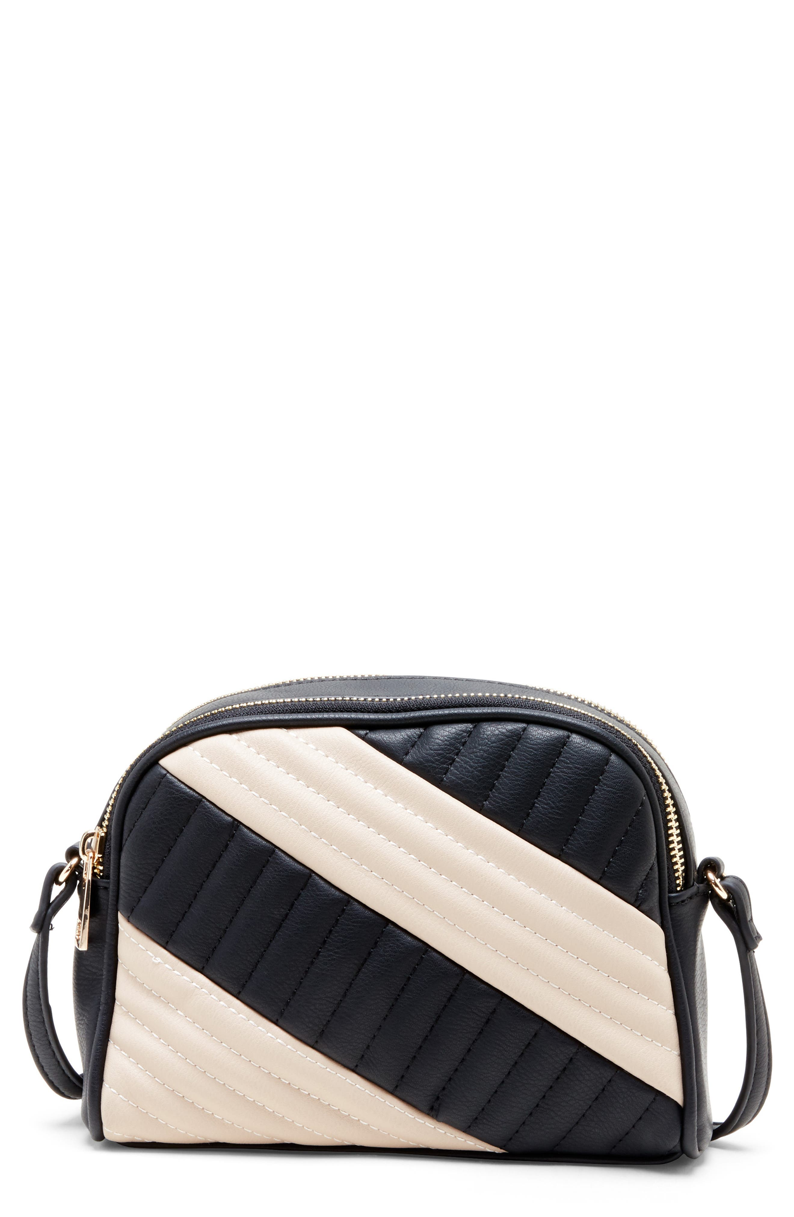 Linza Faux Leather Crossbody Bag,                         Main,                         color, BLACK/ CREAM