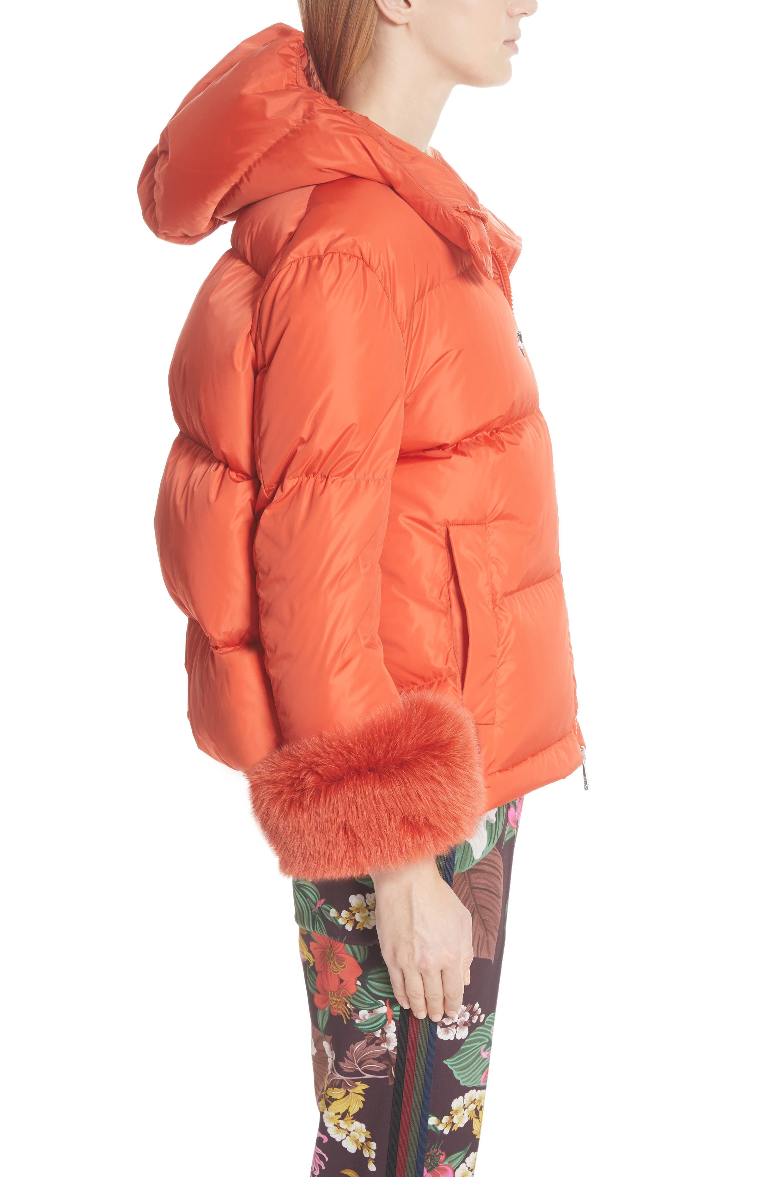 MONCLER,                             Effraie Hooded Down Coat with Removable Genuine Fox Fur Cuffs,                             Alternate thumbnail 4, color,                             ORANGE