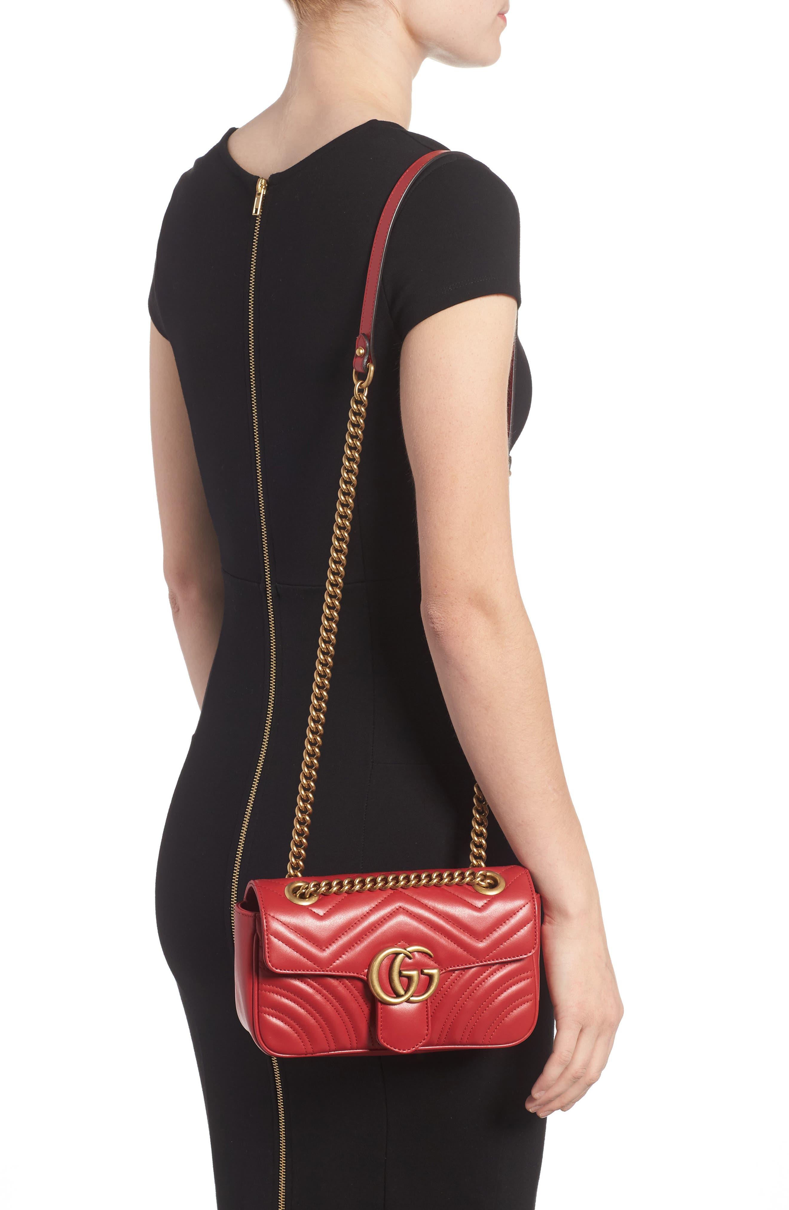 Mini GG Marmont 2.0 Matelassé Leather Shoulder Bag,                             Alternate thumbnail 2, color,                             HIBISCUS RED