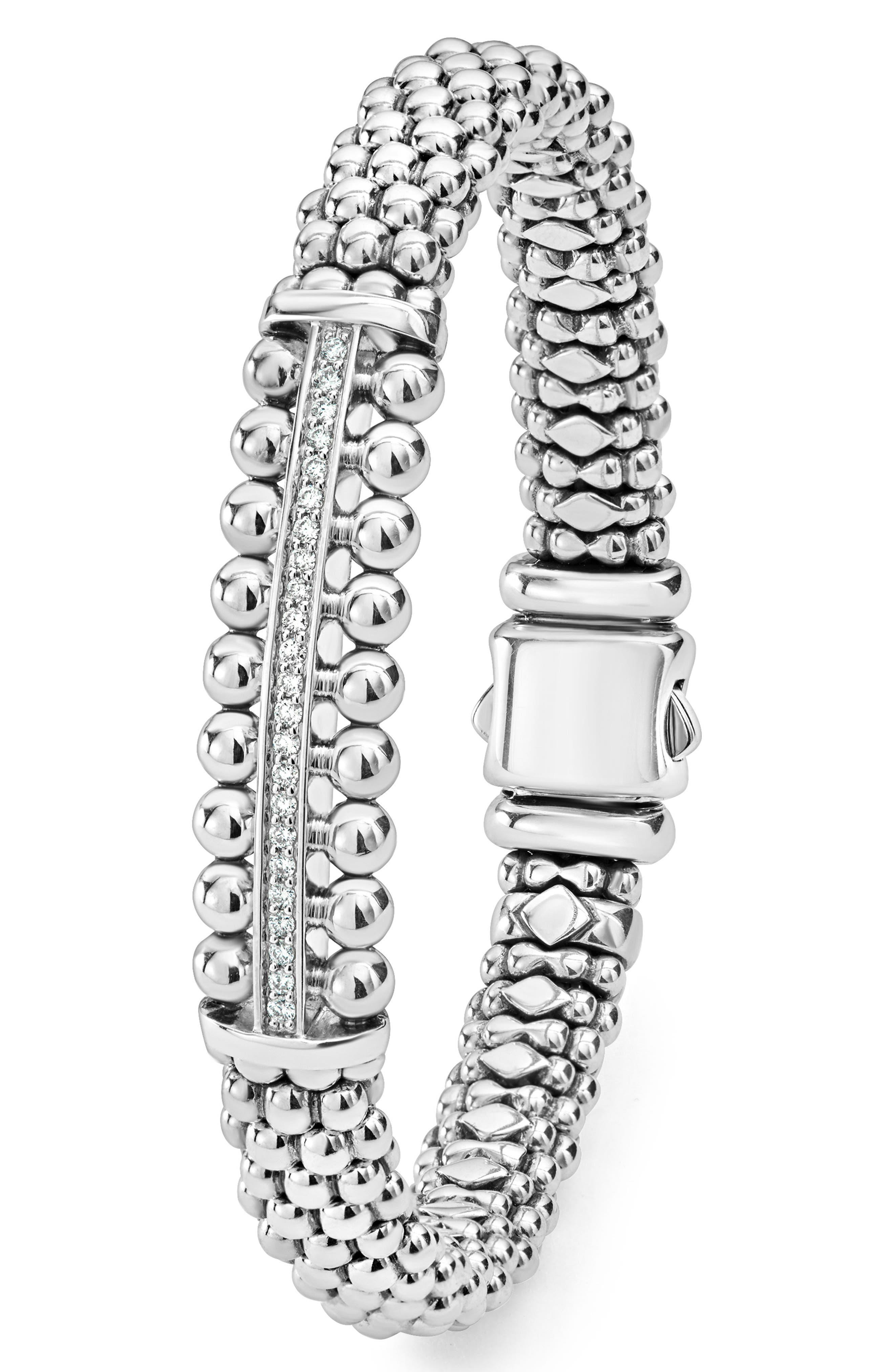 Spark Diamond Station Bracelet,                             Alternate thumbnail 4, color,                             DIAMOND