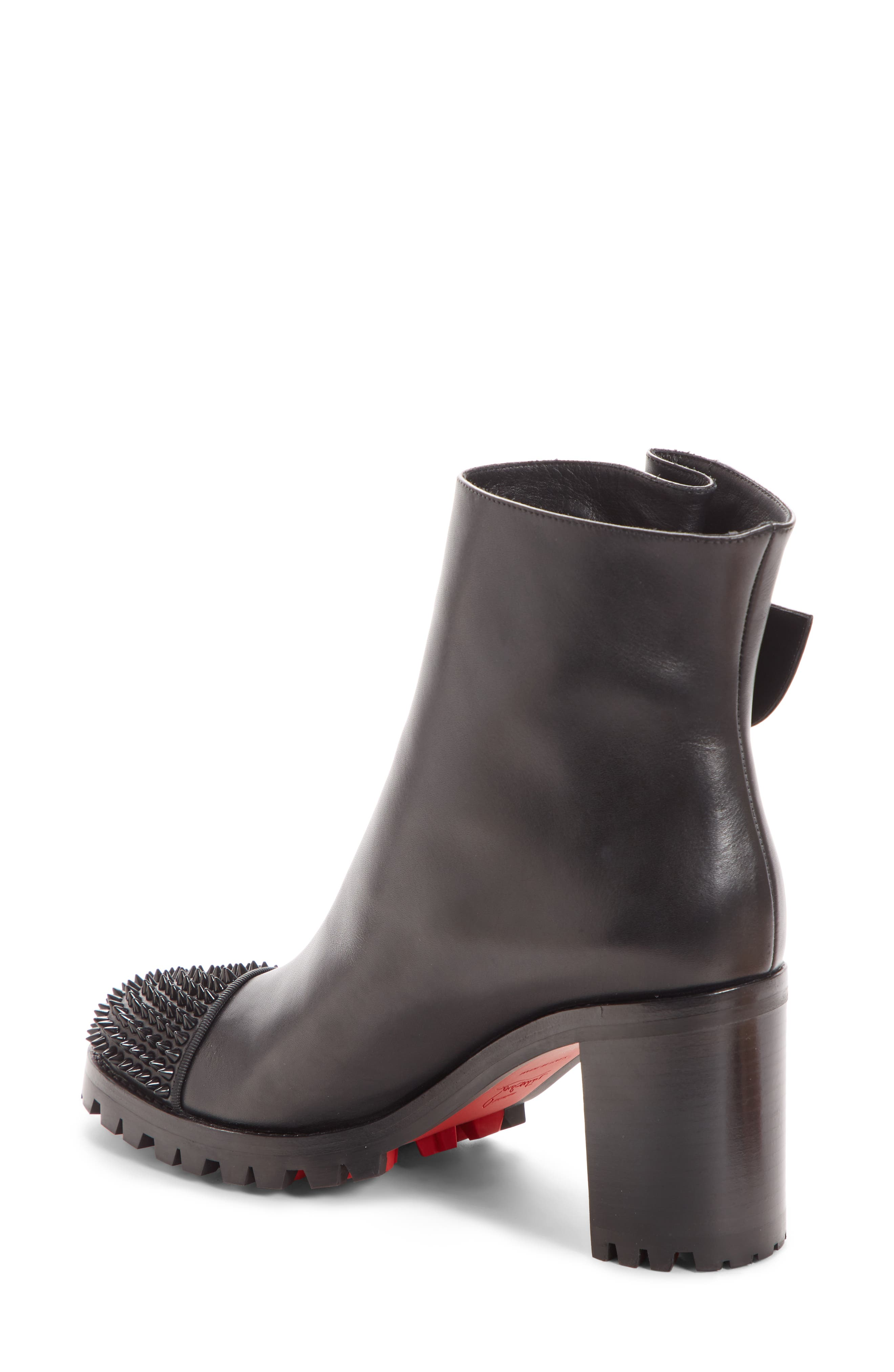 CHRISTIAN LOUBOUTIN,                             Olivia Spiked Boot,                             Alternate thumbnail 2, color,                             001