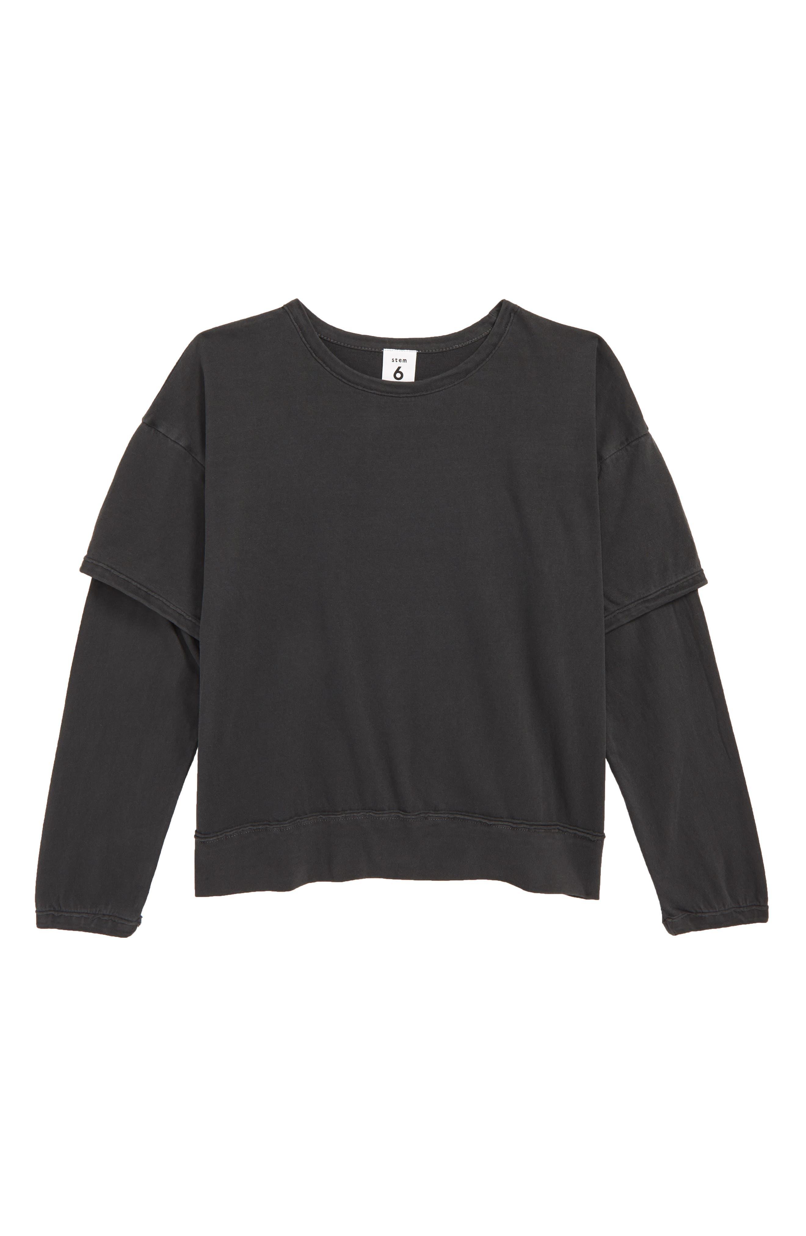 STEM,                             Layer T-Shirt,                             Main thumbnail 1, color,                             BLACK
