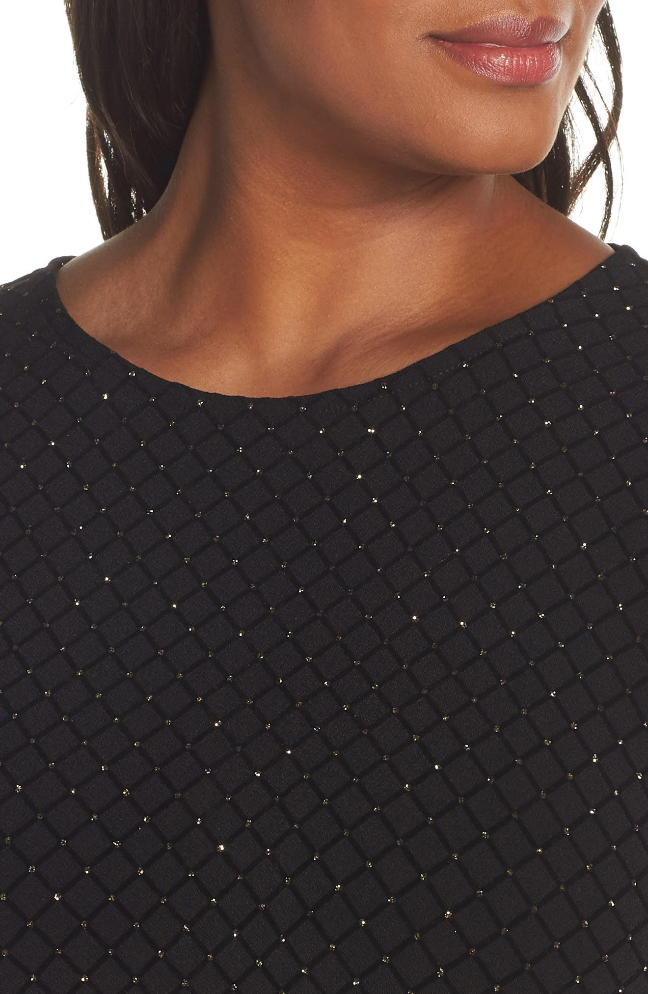 Long Sleeve Pleated Skirt Dress,                             Alternate thumbnail 4, color,                             BLACK/ GOLD