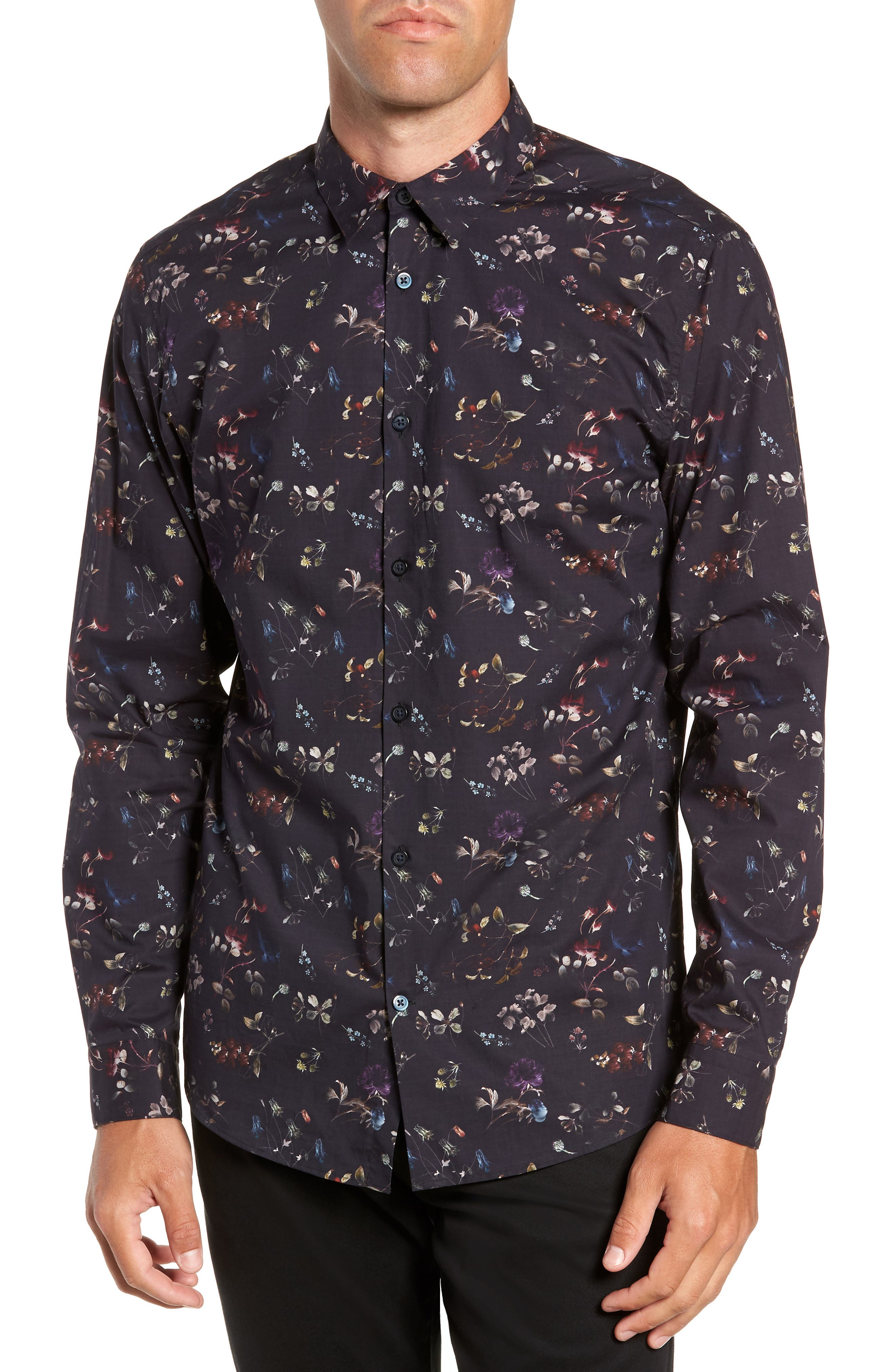 Primus Slim Fit Floral Print Sport Shirt,                         Main,                         color, DARK NAVY