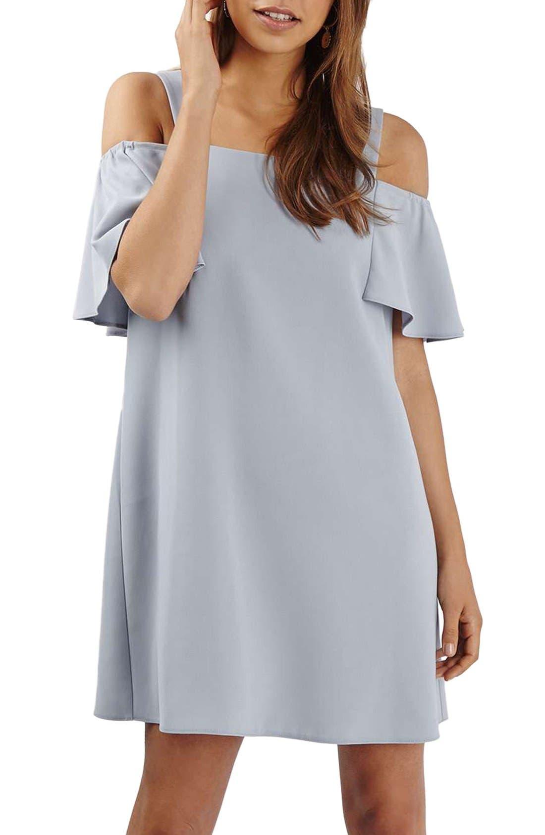 TOPSHOP,                             Cold Shoulder Shift Dress,                             Alternate thumbnail 4, color,                             050