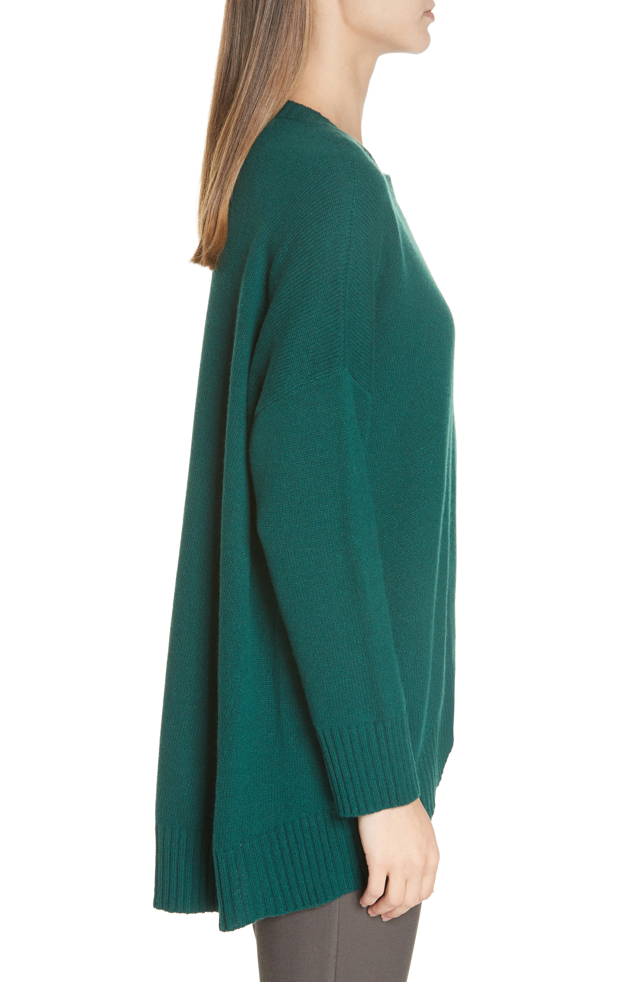 Cashmere & Wool Blend Oversize Sweater,                             Alternate thumbnail 3, color,                             PINE