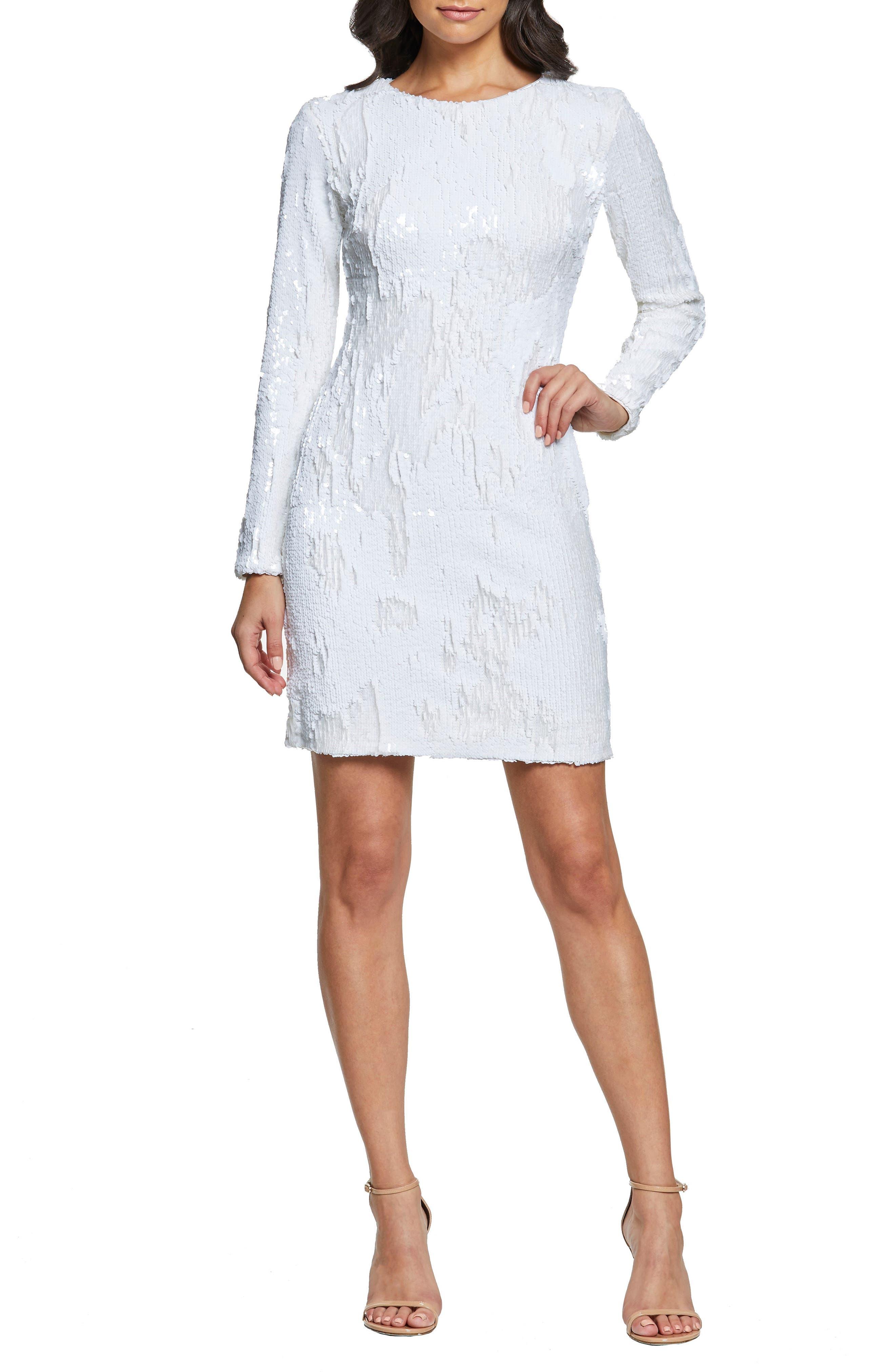 Dress The Population Genny Sequin Body-Con Dress, White