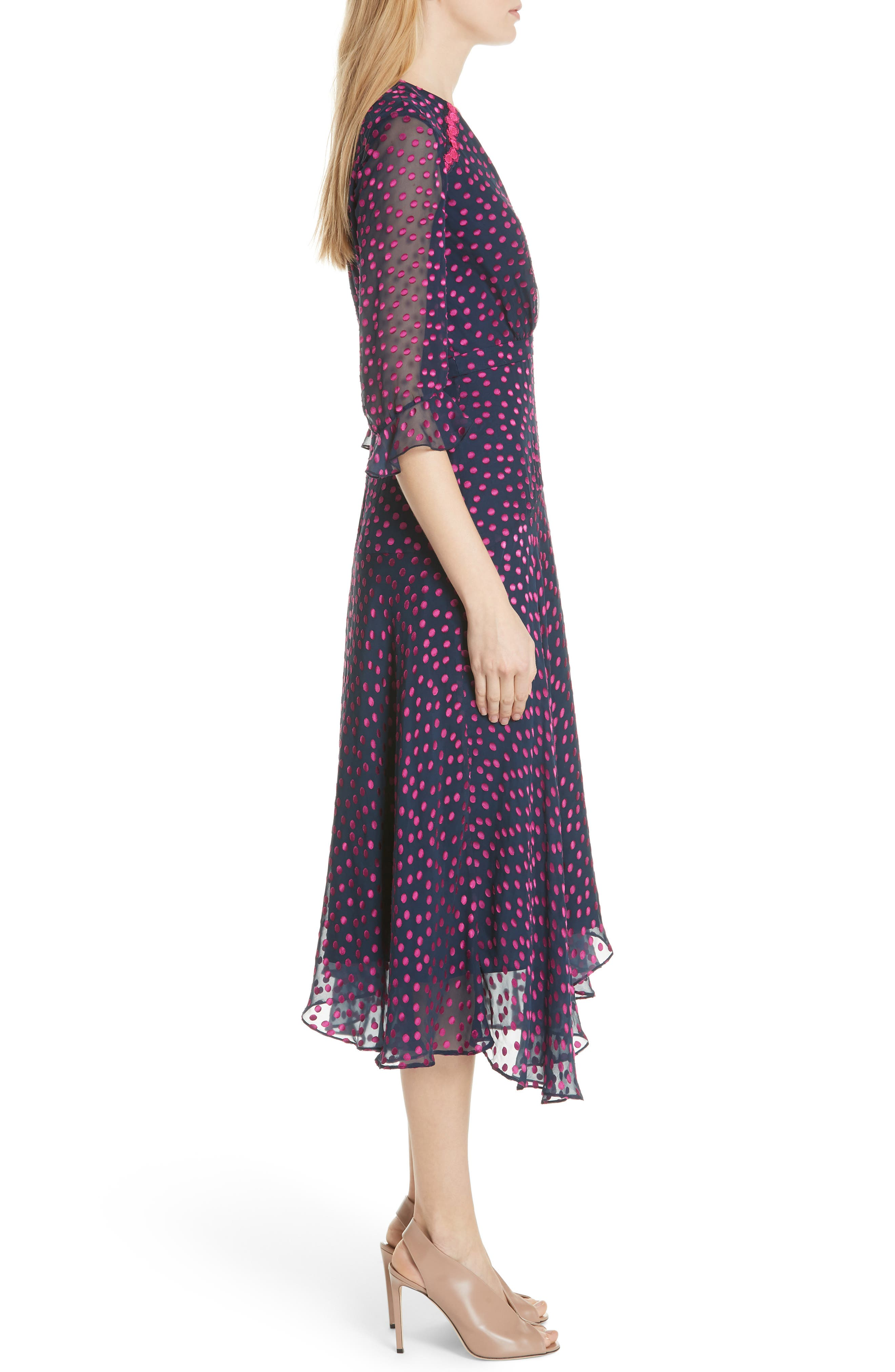 Edith Silk Blend Dress,                             Alternate thumbnail 3, color,                             NAVY/ MAGENTA