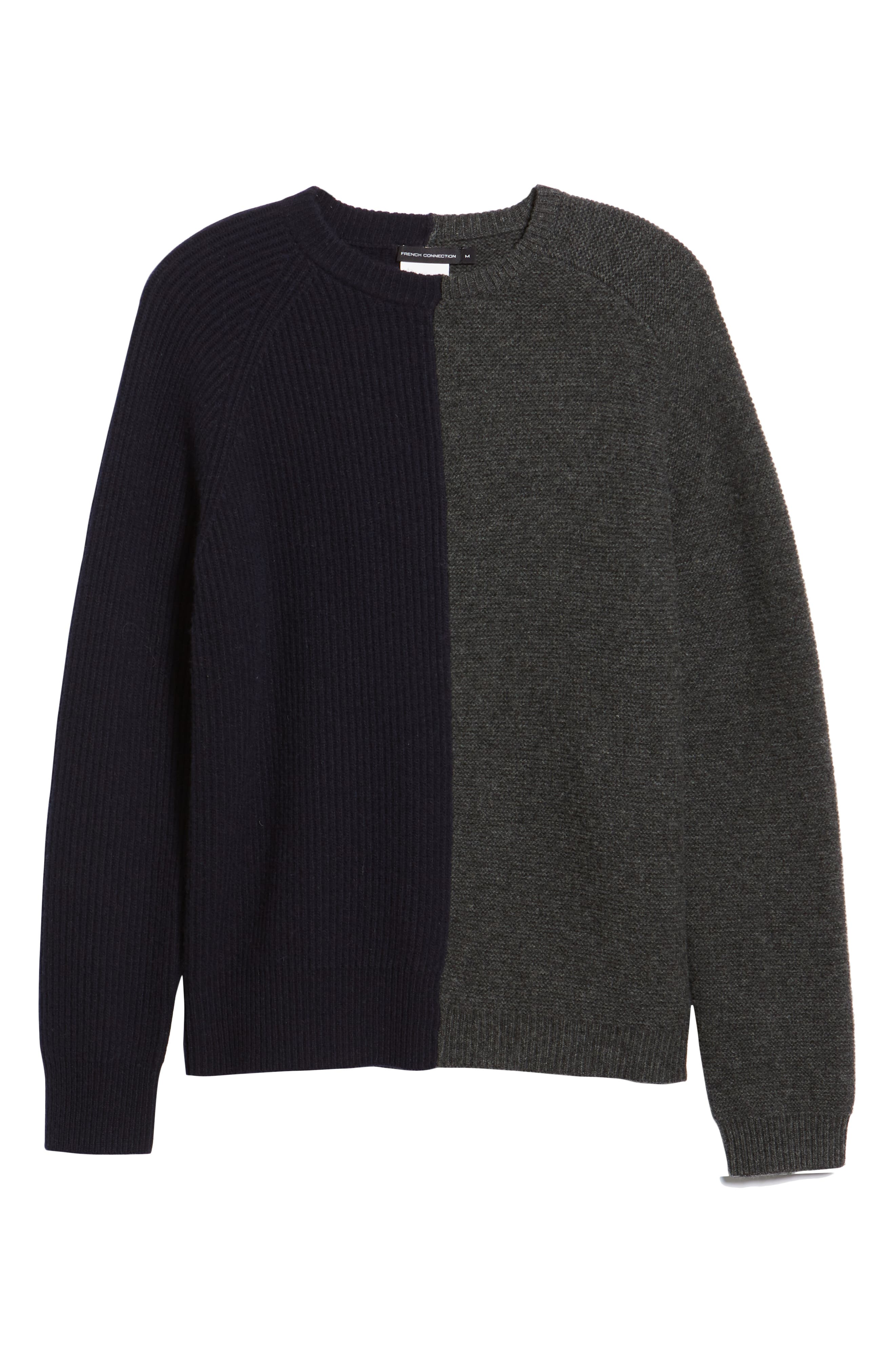Mixed Texture Wool Blend Sweater,                             Alternate thumbnail 6, color,                             UTILITY BLUE CHARCOAL MELANGE