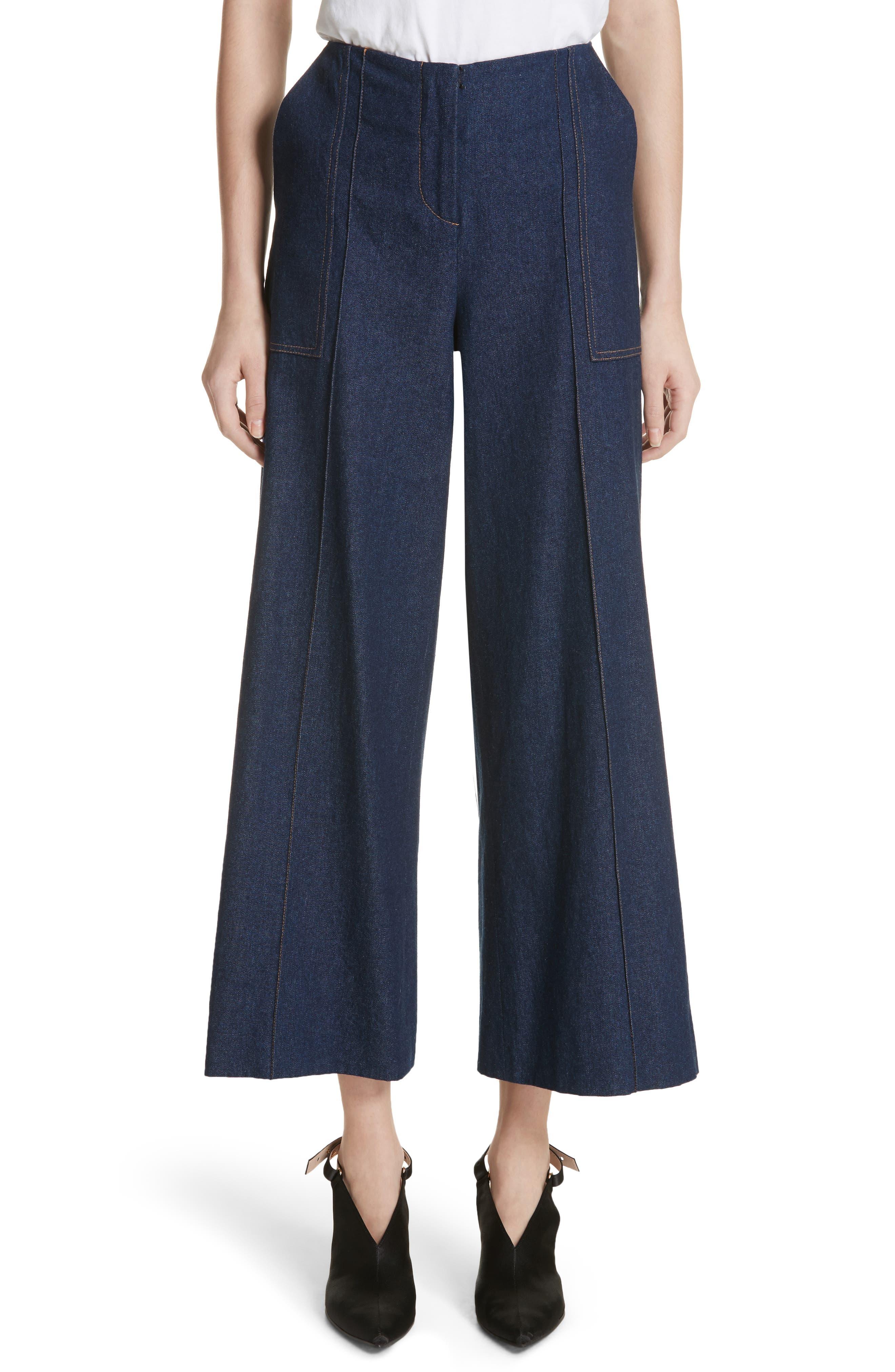 Dune Imitation Pearl Trim Wide Leg Crop Jeans,                             Main thumbnail 1, color,                             400