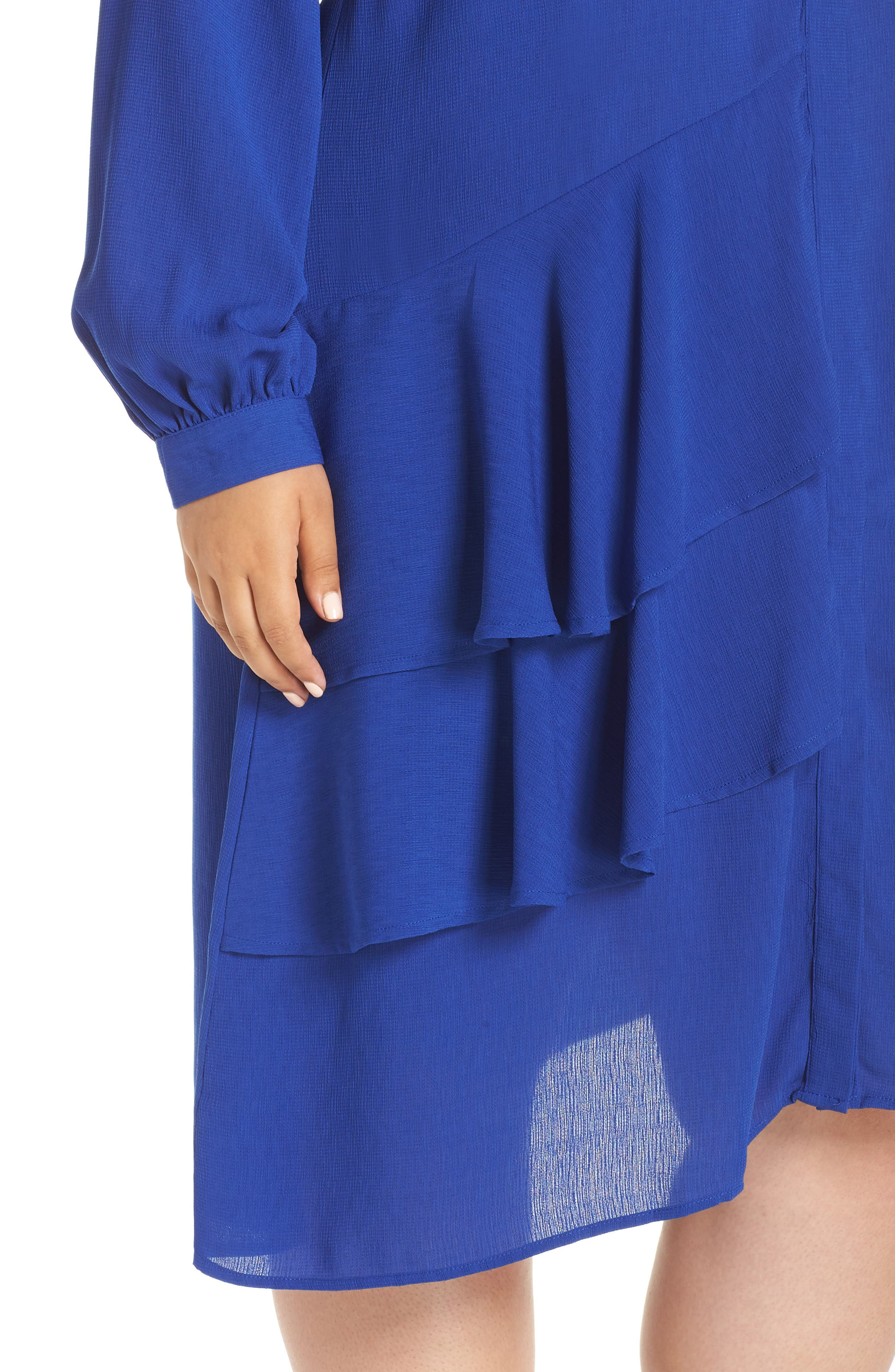 Frilly Shirtdress,                             Alternate thumbnail 4, color,                             BLUE