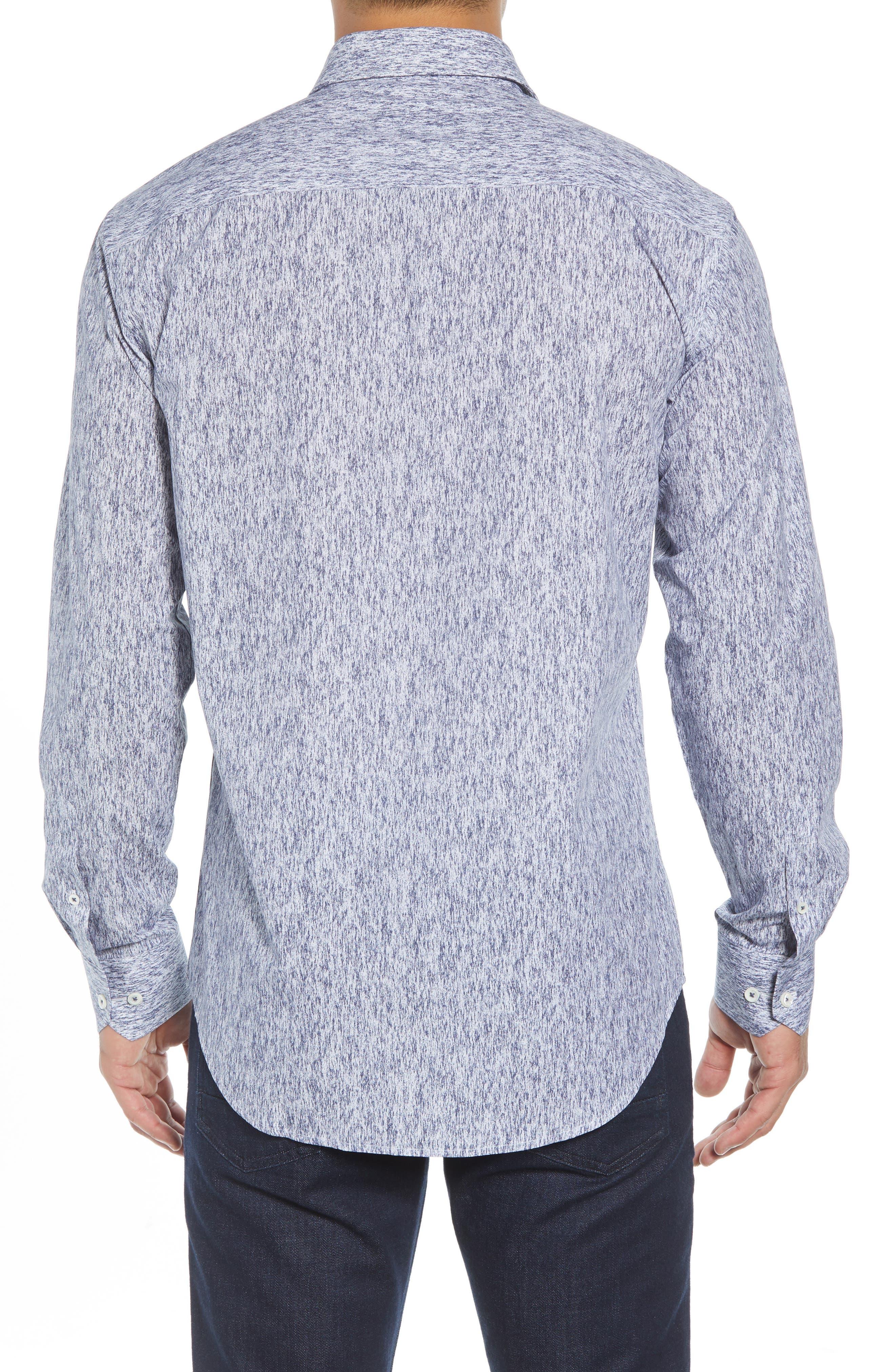 Shaped Fit Print Sport Shirt,                             Alternate thumbnail 3, color,                             COBALT