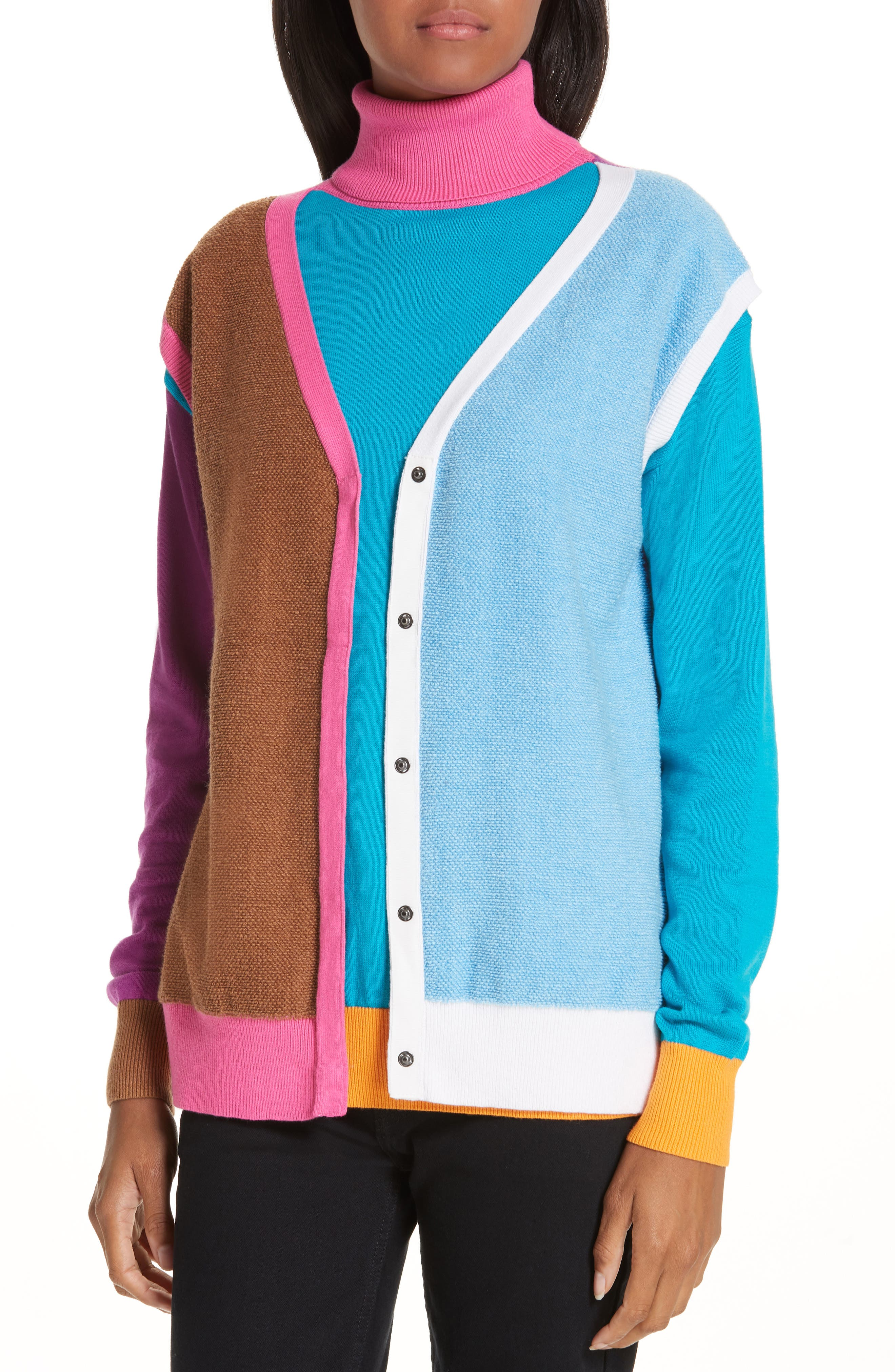 Layered Cotton & Cashmere Sweater,                             Alternate thumbnail 4, color,                             PINK/BLUE/SAND COMBO