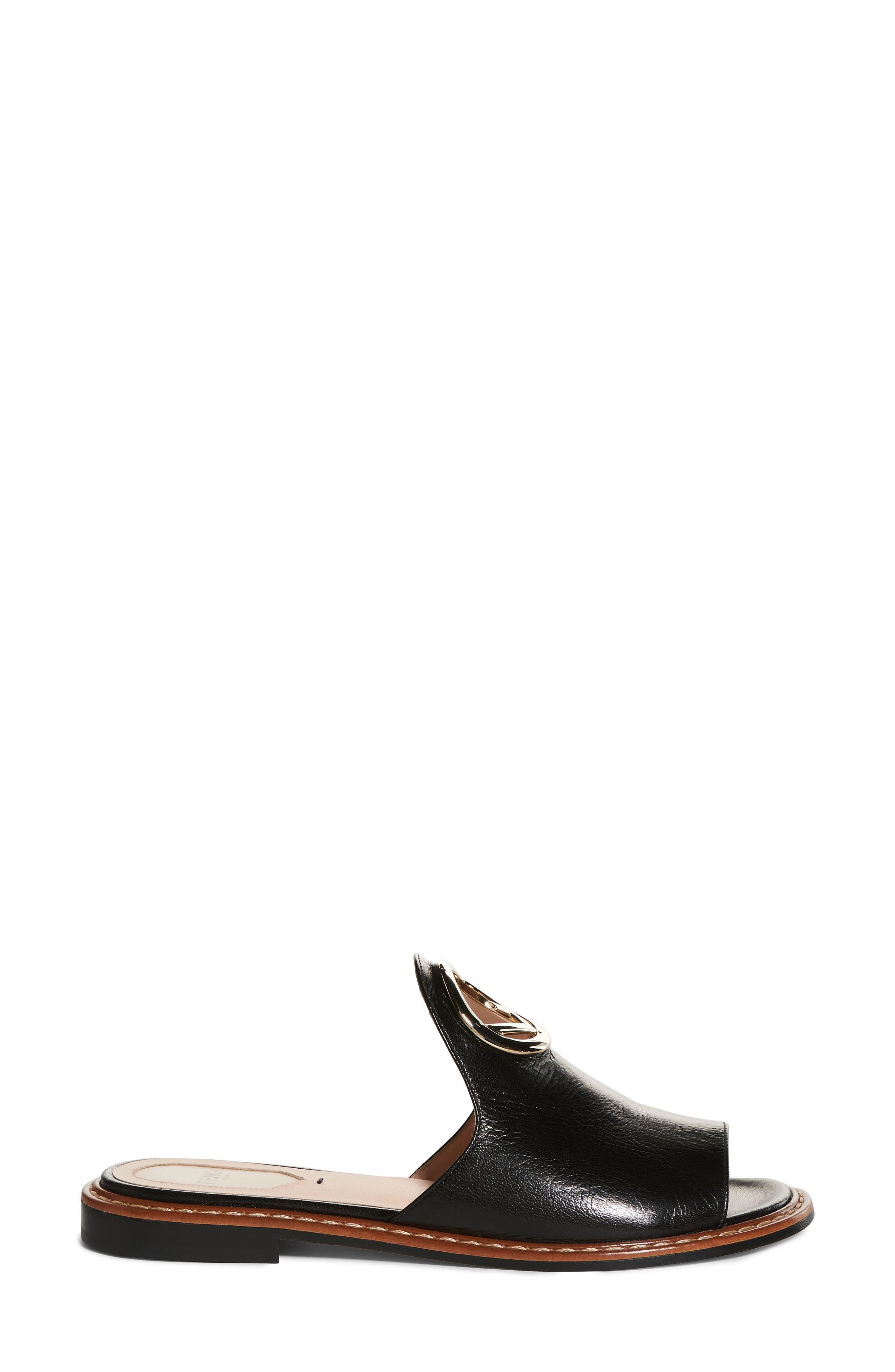 F Is For Fendi Open Toe Mule,                             Alternate thumbnail 3, color,                             012