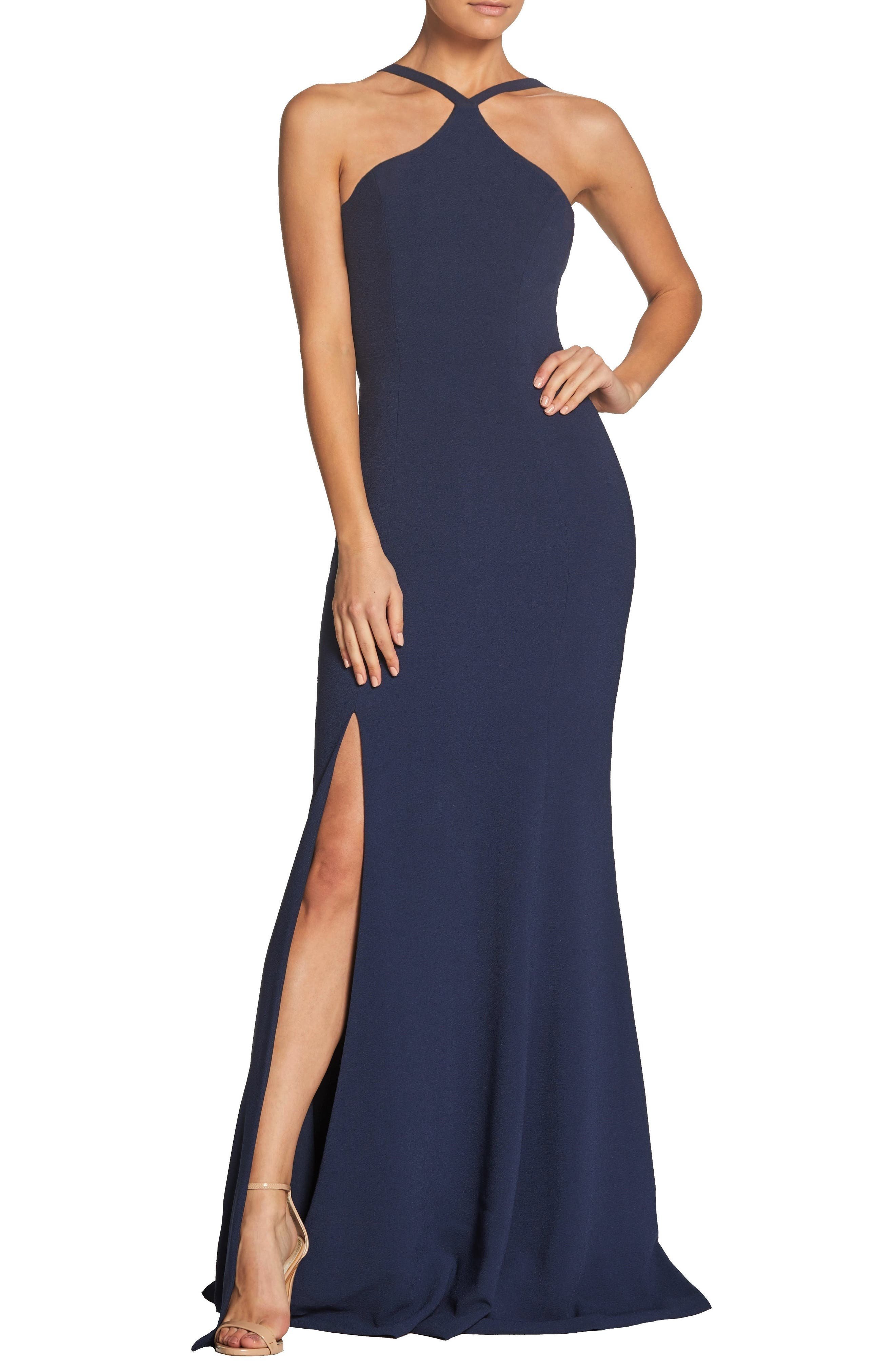 Dress The Population Brianna Halter Style Trumpet Gown, Blue