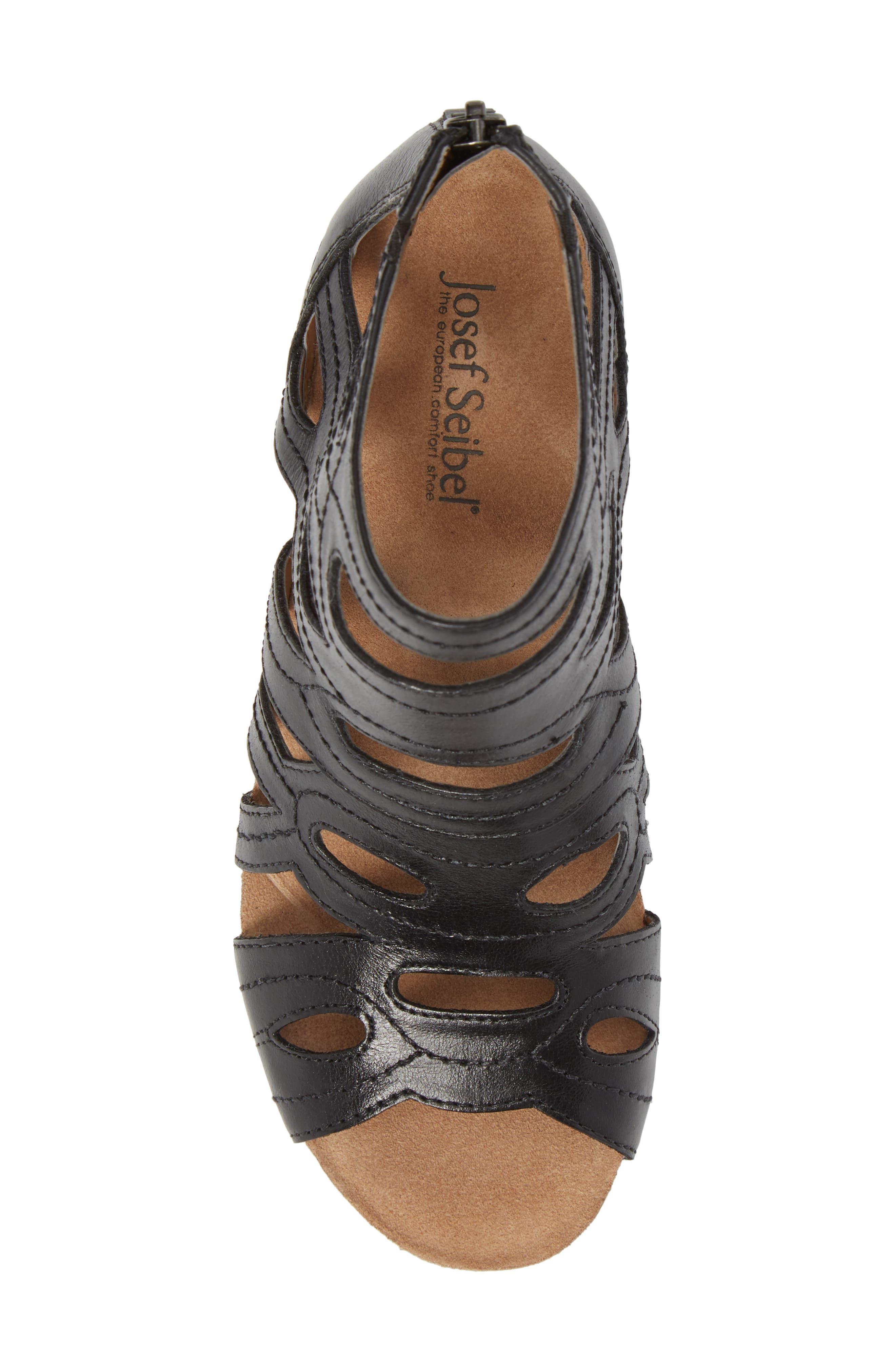 Rose 21 Gladiator Sandal,                             Alternate thumbnail 5, color,                             BLACK LEATHER