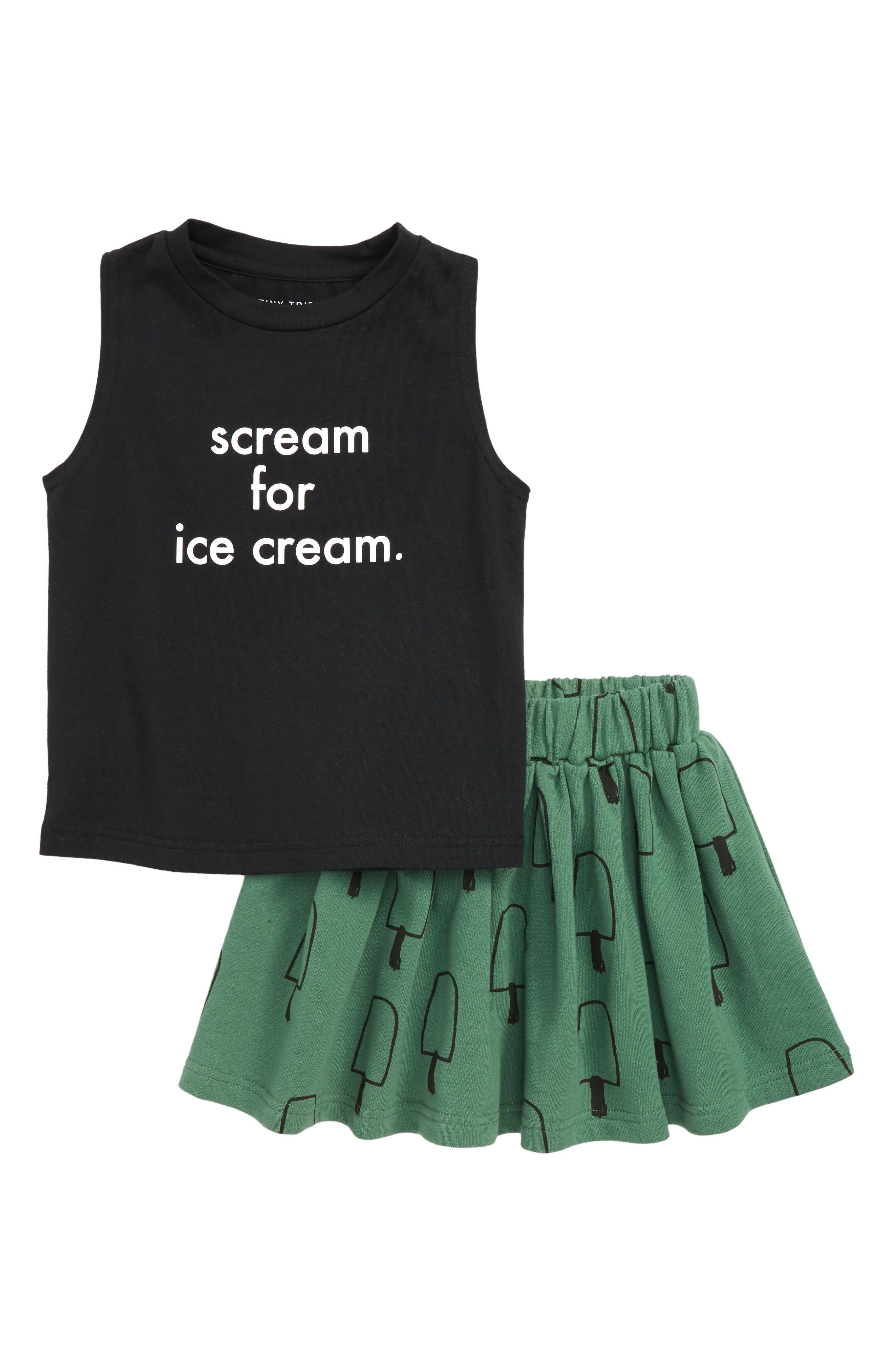Scream for Ice Cream Tank & Skirt Set,                         Main,                         color, BLACK / GREEN
