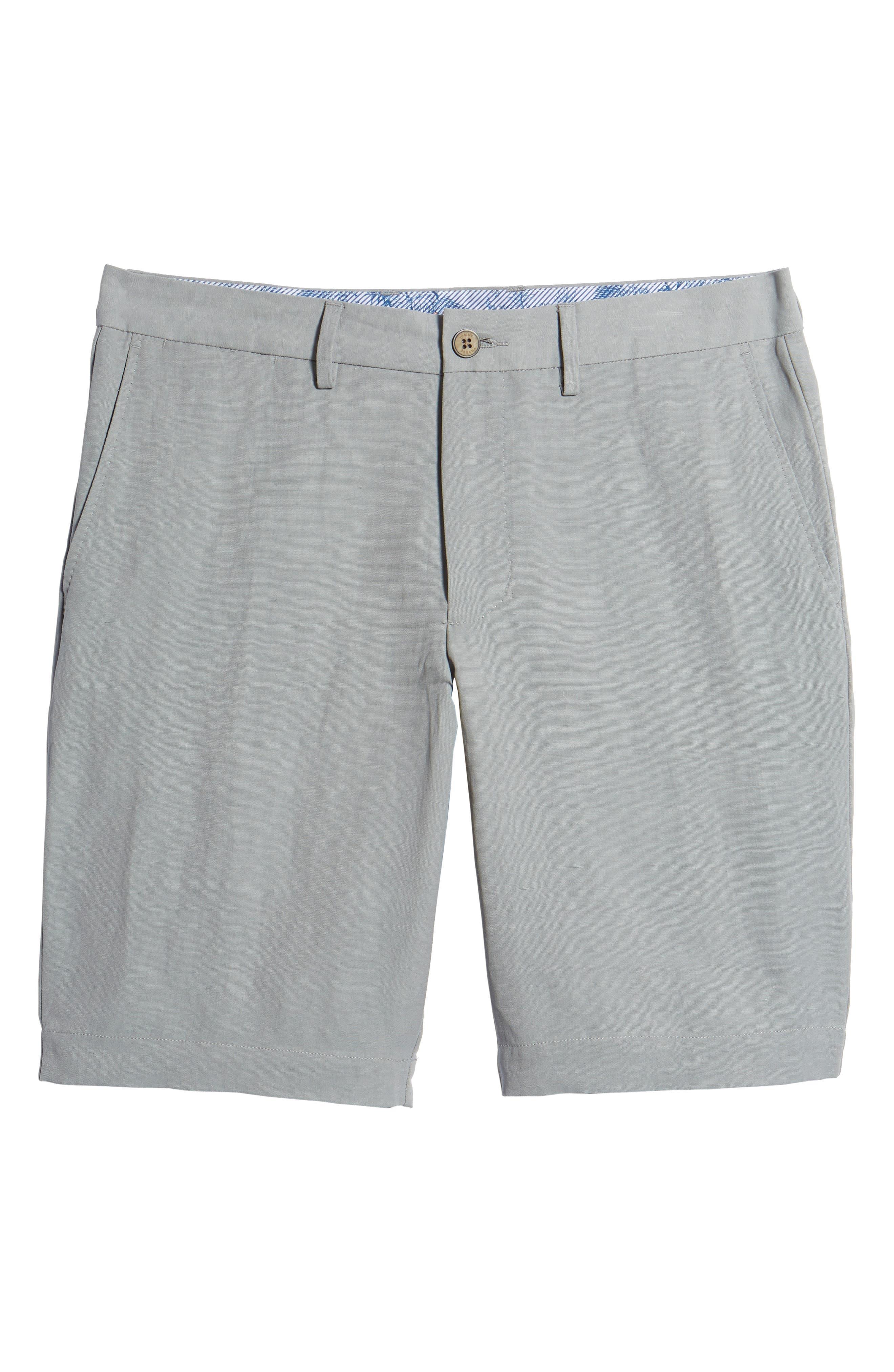 Monterey Flat Front Silk & Linen Shorts,                             Alternate thumbnail 6, color,                             LIGHT GREY