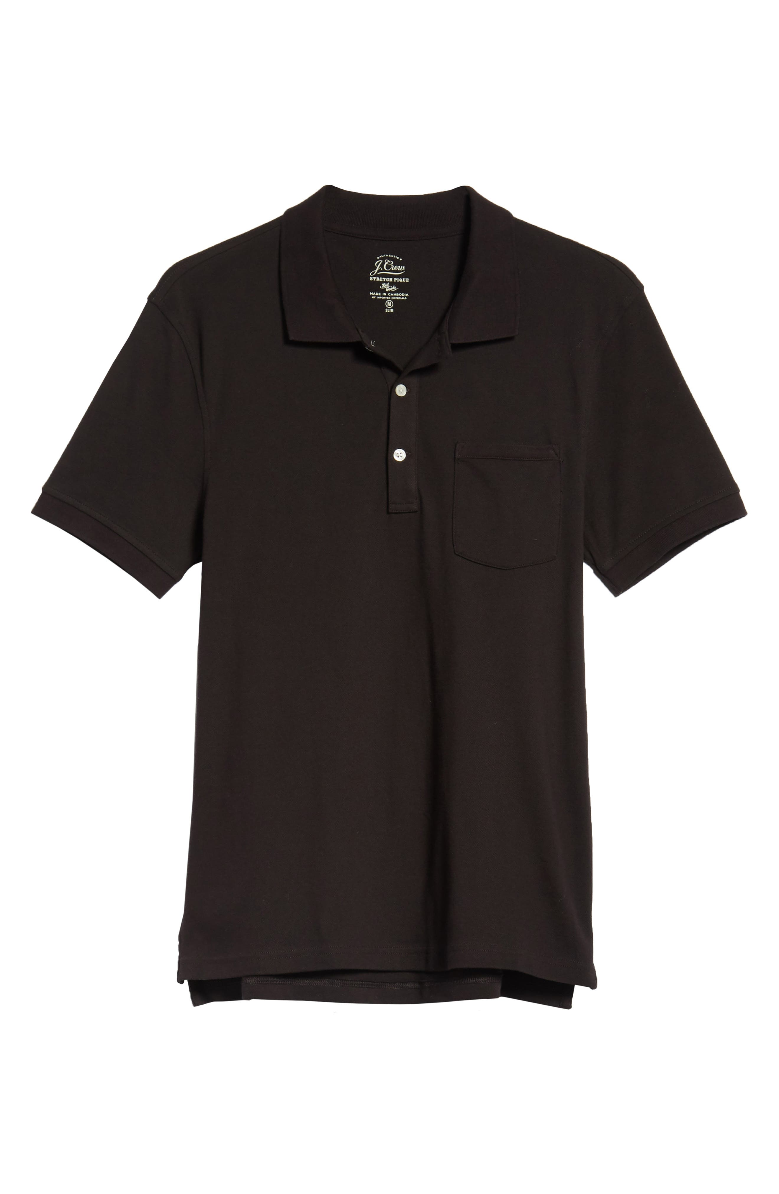 Stretch Cotton Polo Shirt,                             Alternate thumbnail 6, color,                             001