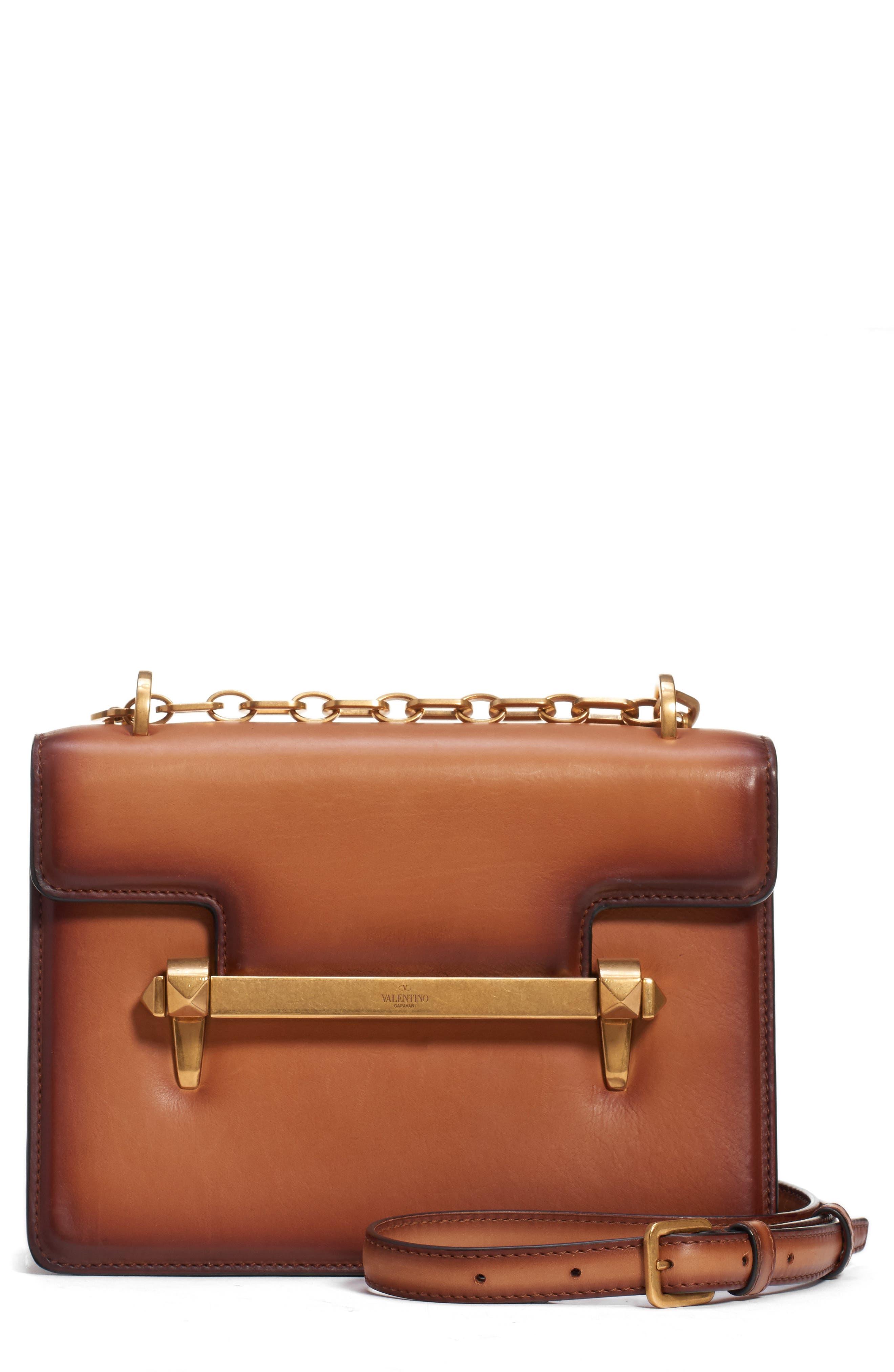 VALENTINO GARAVANI,                             Small Uptown Leather Shoulder Bag,                             Main thumbnail 1, color,                             BRIGHT COGNAC