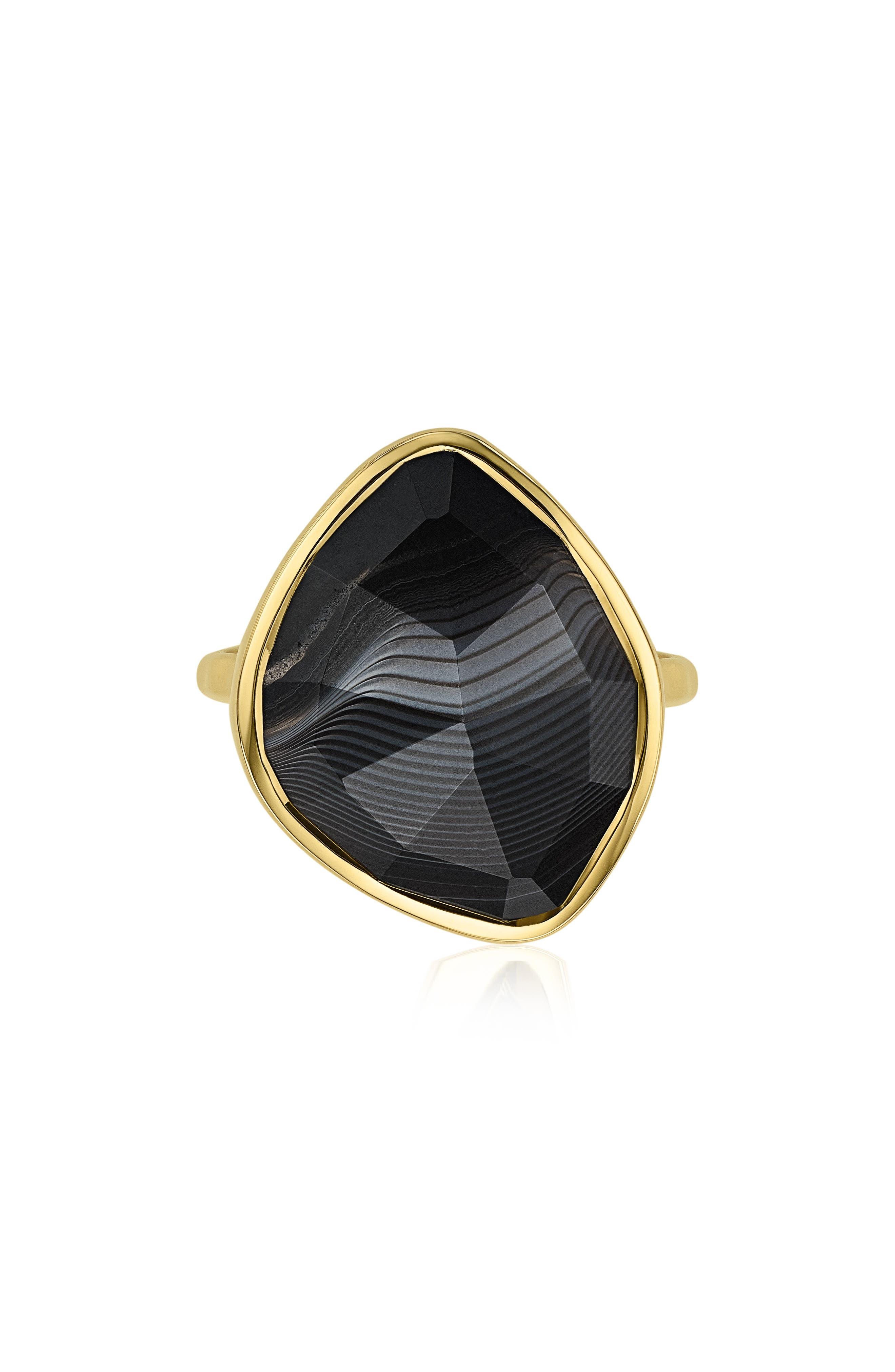 Siren Nugget Semiprecious Stone Ring,                         Main,                         color, BLACK LINE ONYX/ YELLOW GOLD