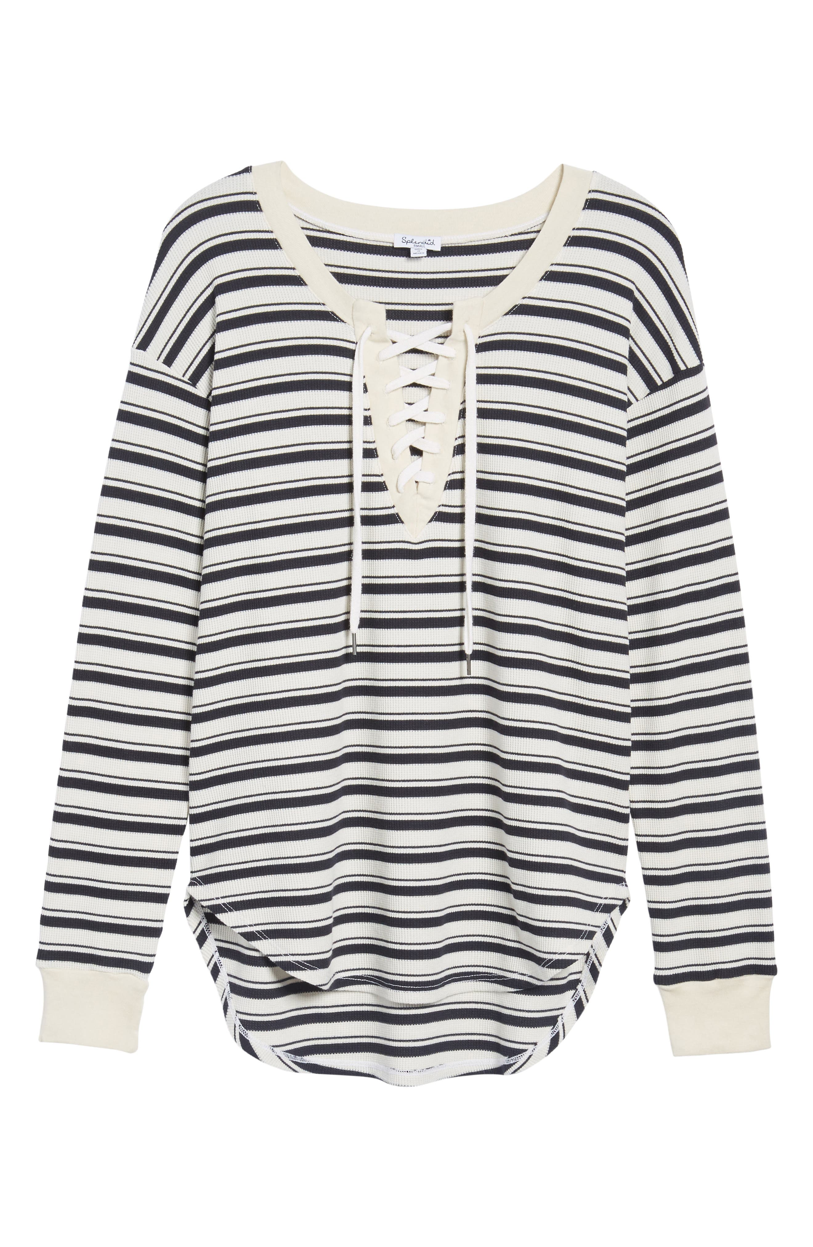 Stripe Lace-Up Tee,                             Alternate thumbnail 6, color,                             466