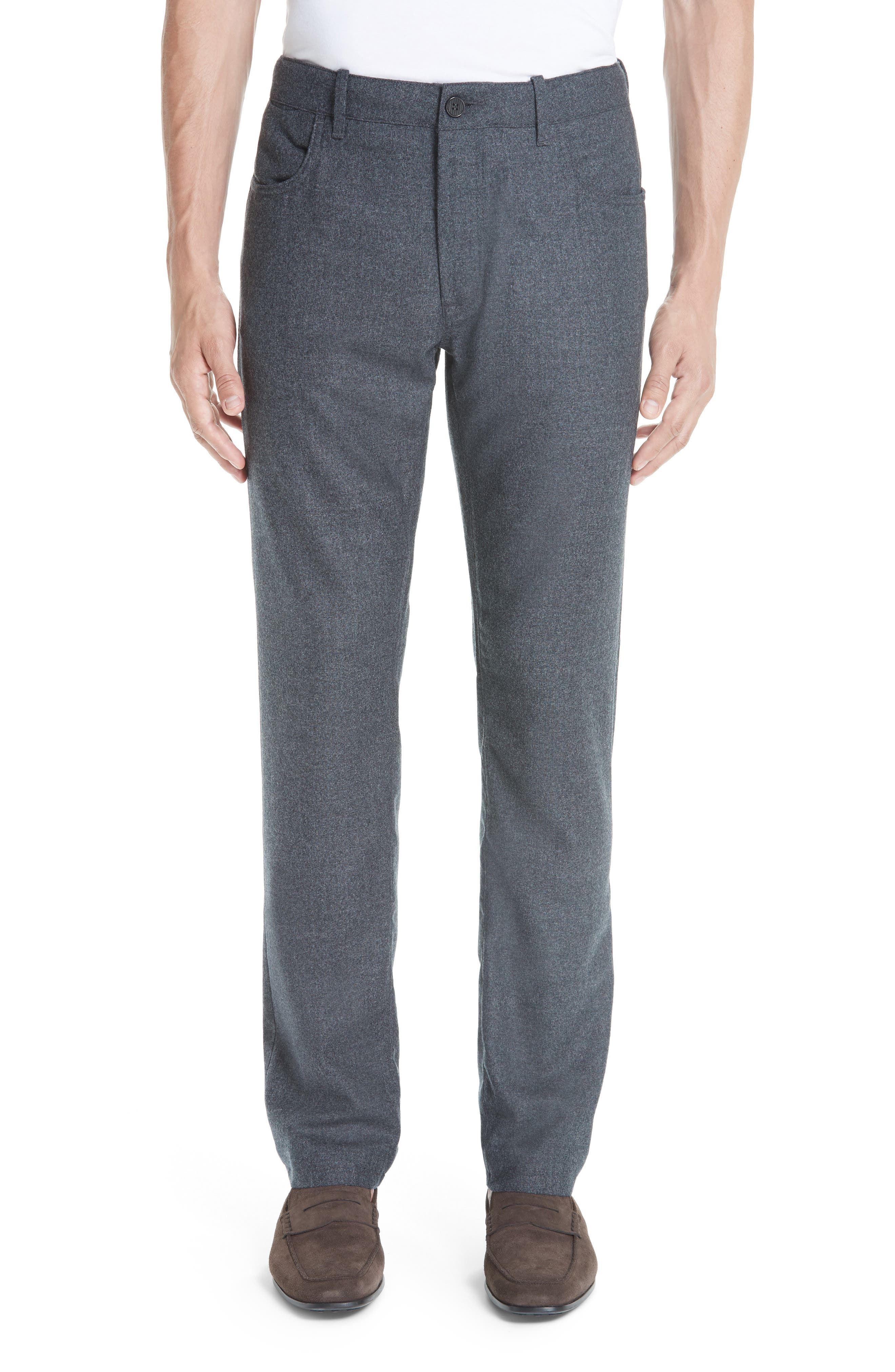 Flat Front Flannel Wool Five-Pocket Trousers in Charcoal
