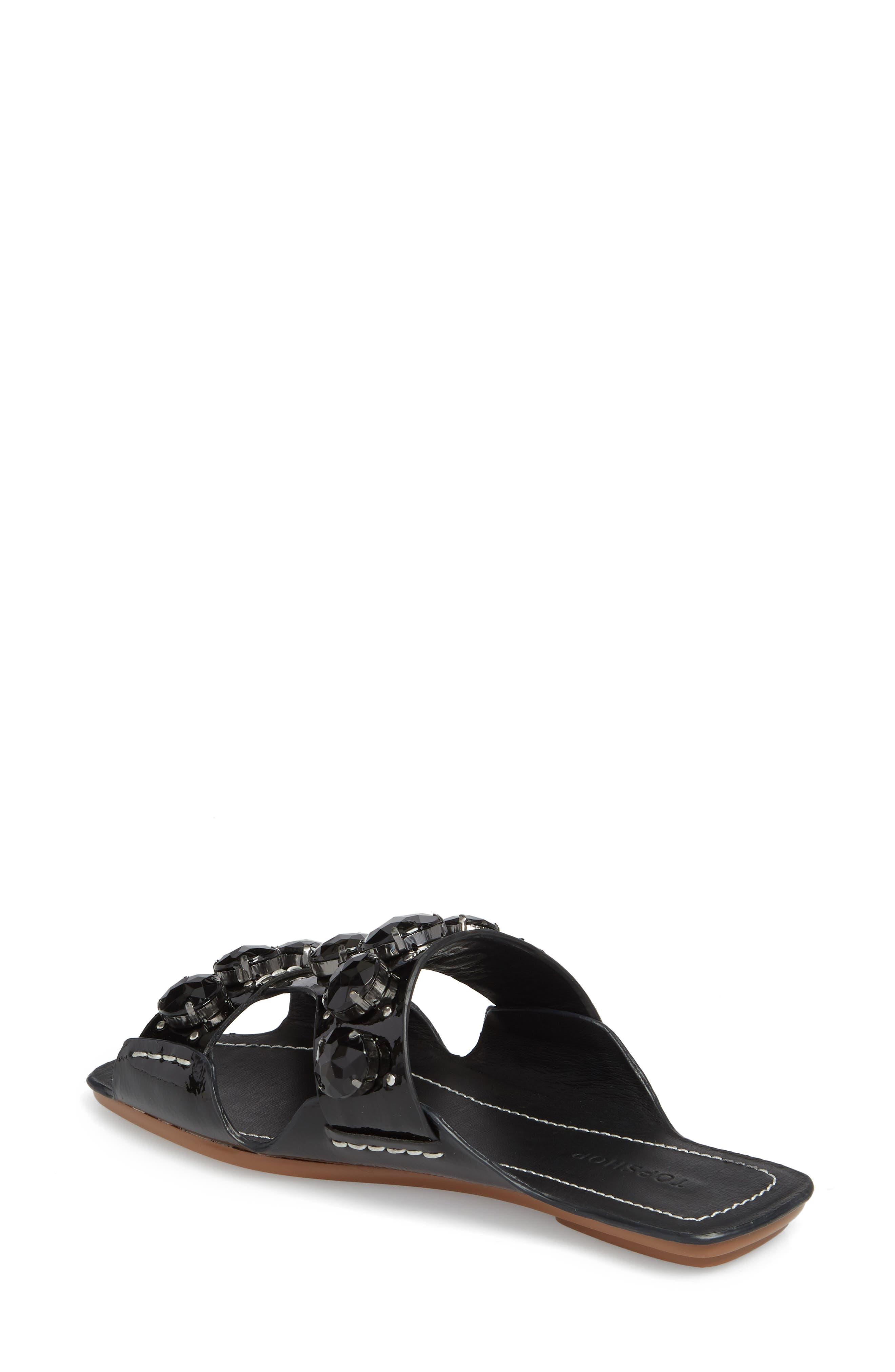 Fascinate Gem Slide Sandal,                             Alternate thumbnail 2, color,                             BLACK
