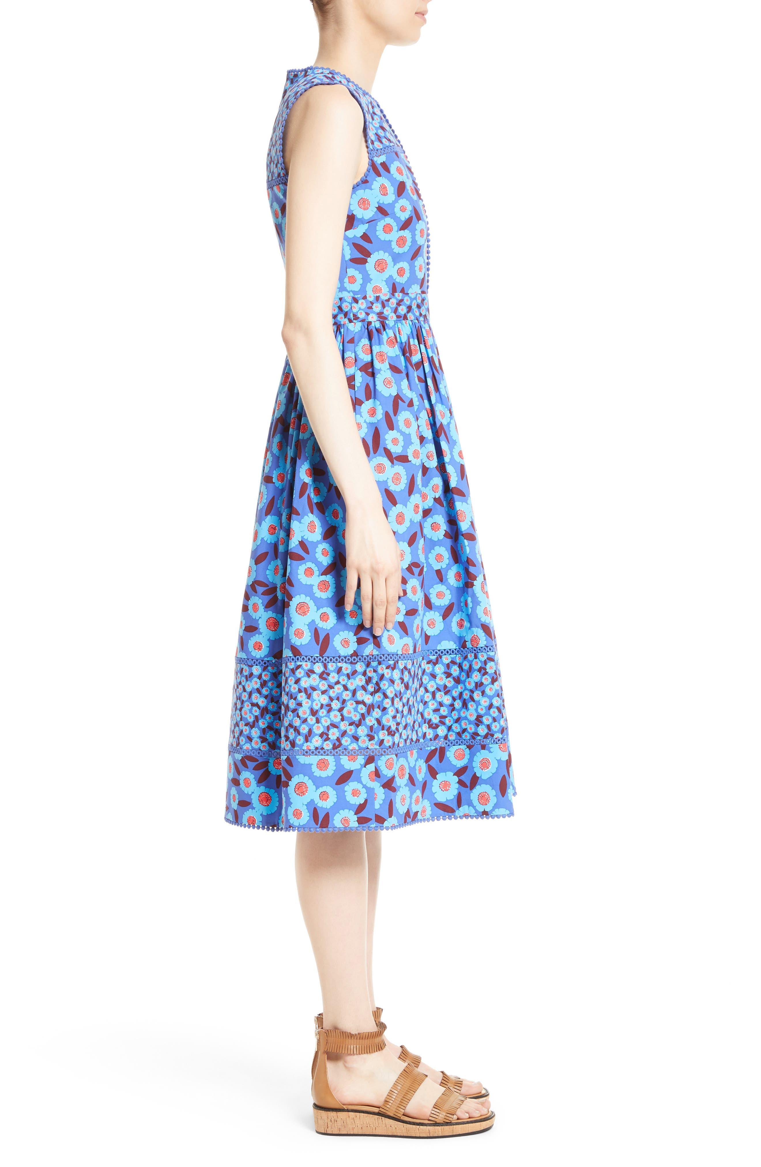 tangier floral midi dress,                             Alternate thumbnail 3, color,                             408