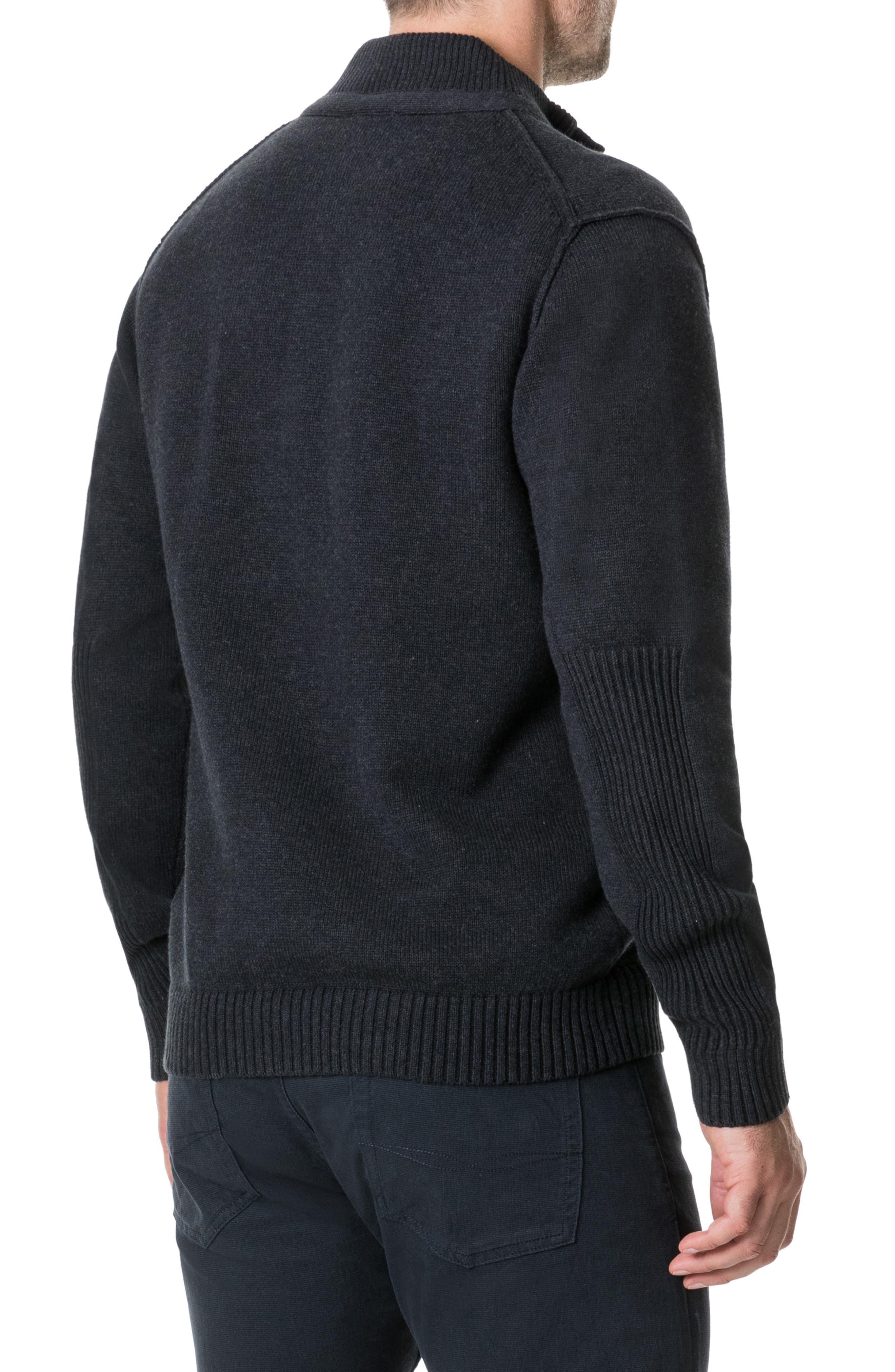 Kent Terrace Quarter Button Sweater,                             Alternate thumbnail 2, color,                             CHARCOAL