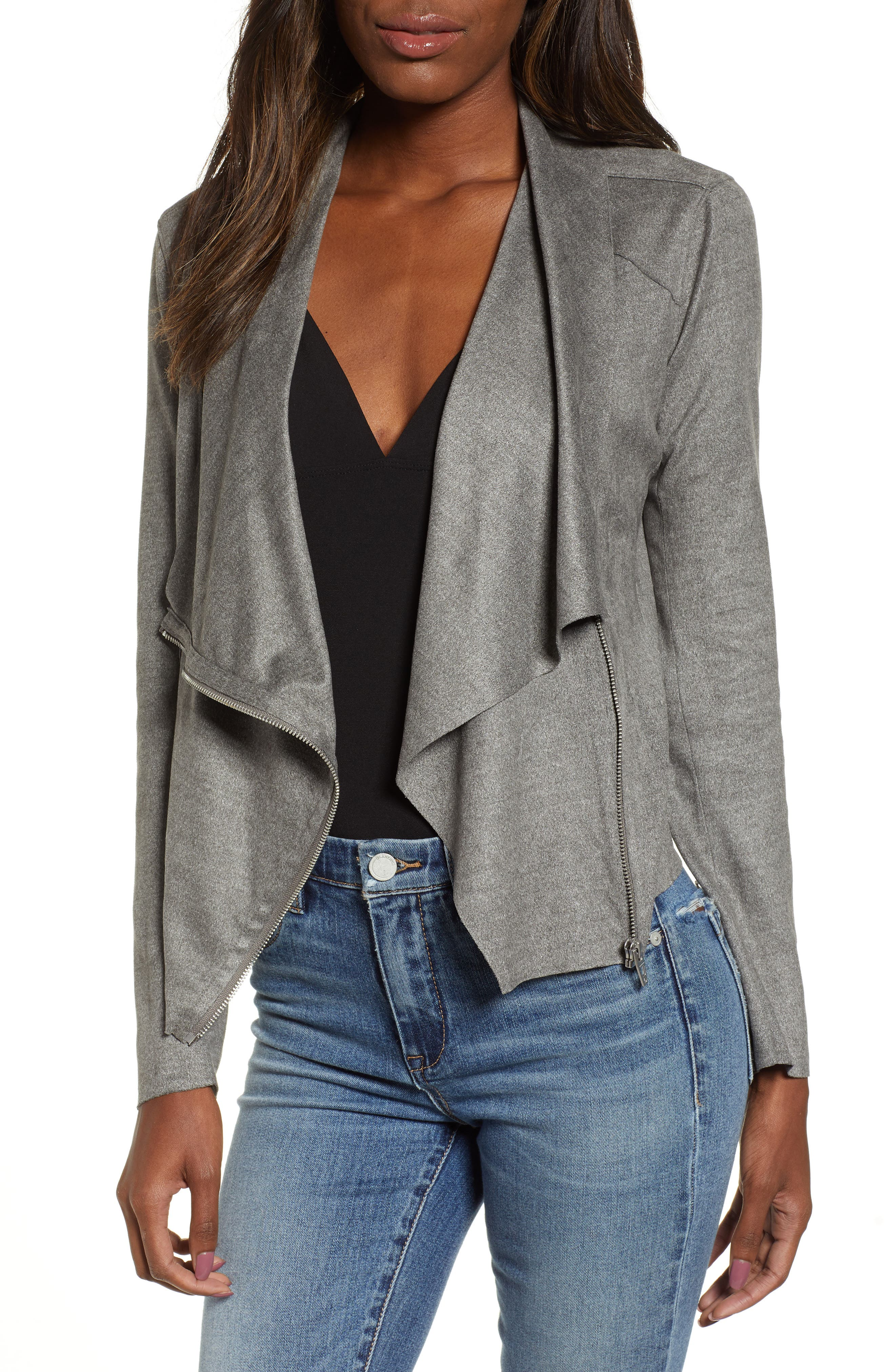 BLANKNYC Faux Suede Drape Jacket, Main, color, HEATHERED GREY