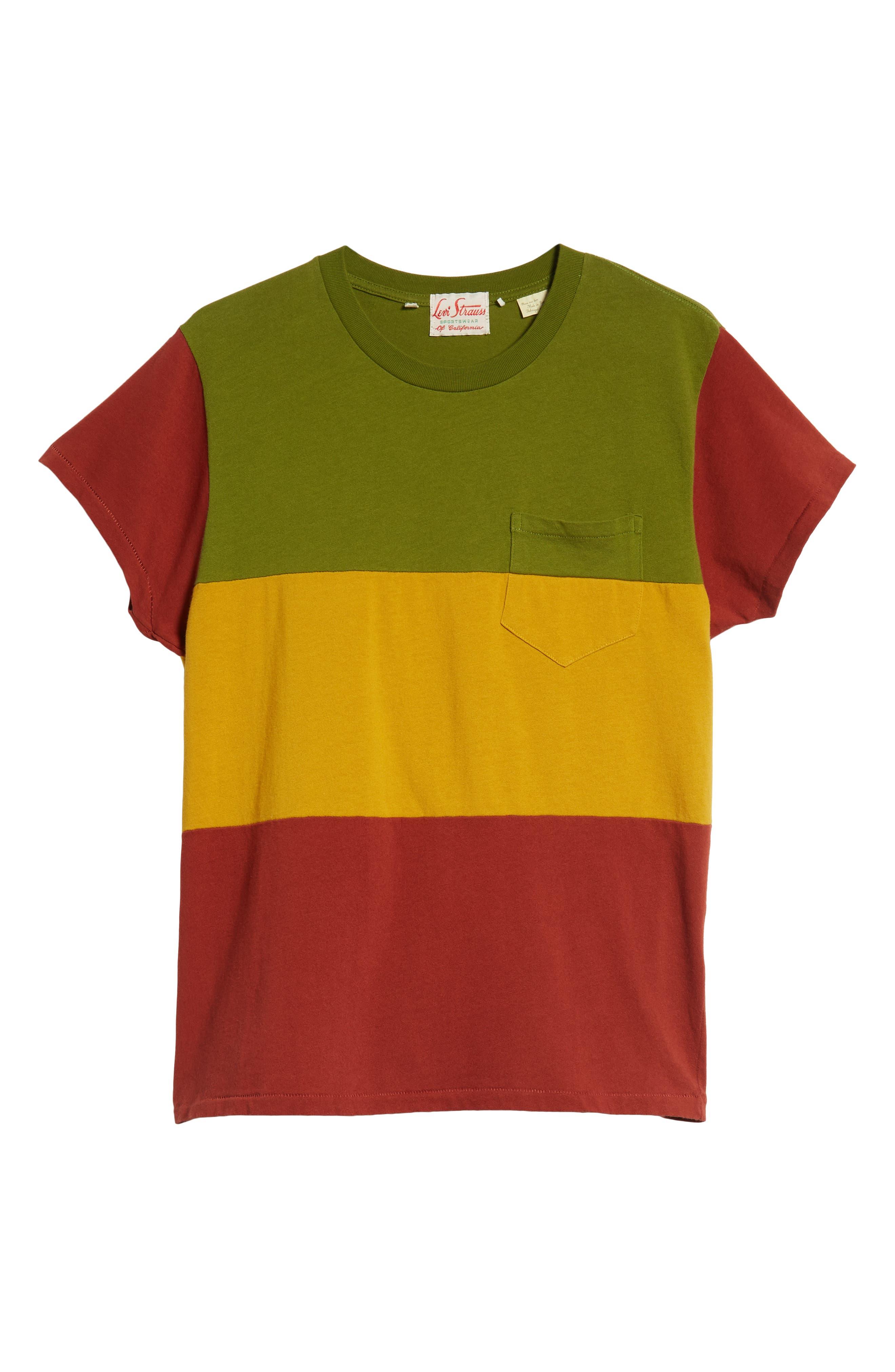 1950s Slim Fit Colorblock T-Shirt,                             Alternate thumbnail 6, color,                             3 WAY MULTI STRIPE