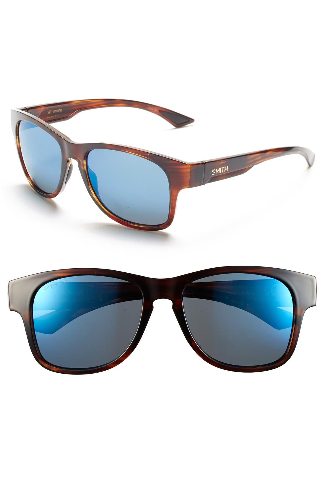 'Wayward' 54mm Polarized Sunglasses,                         Main,                         color, HAVANA/ POLAR BLUE MIRROR