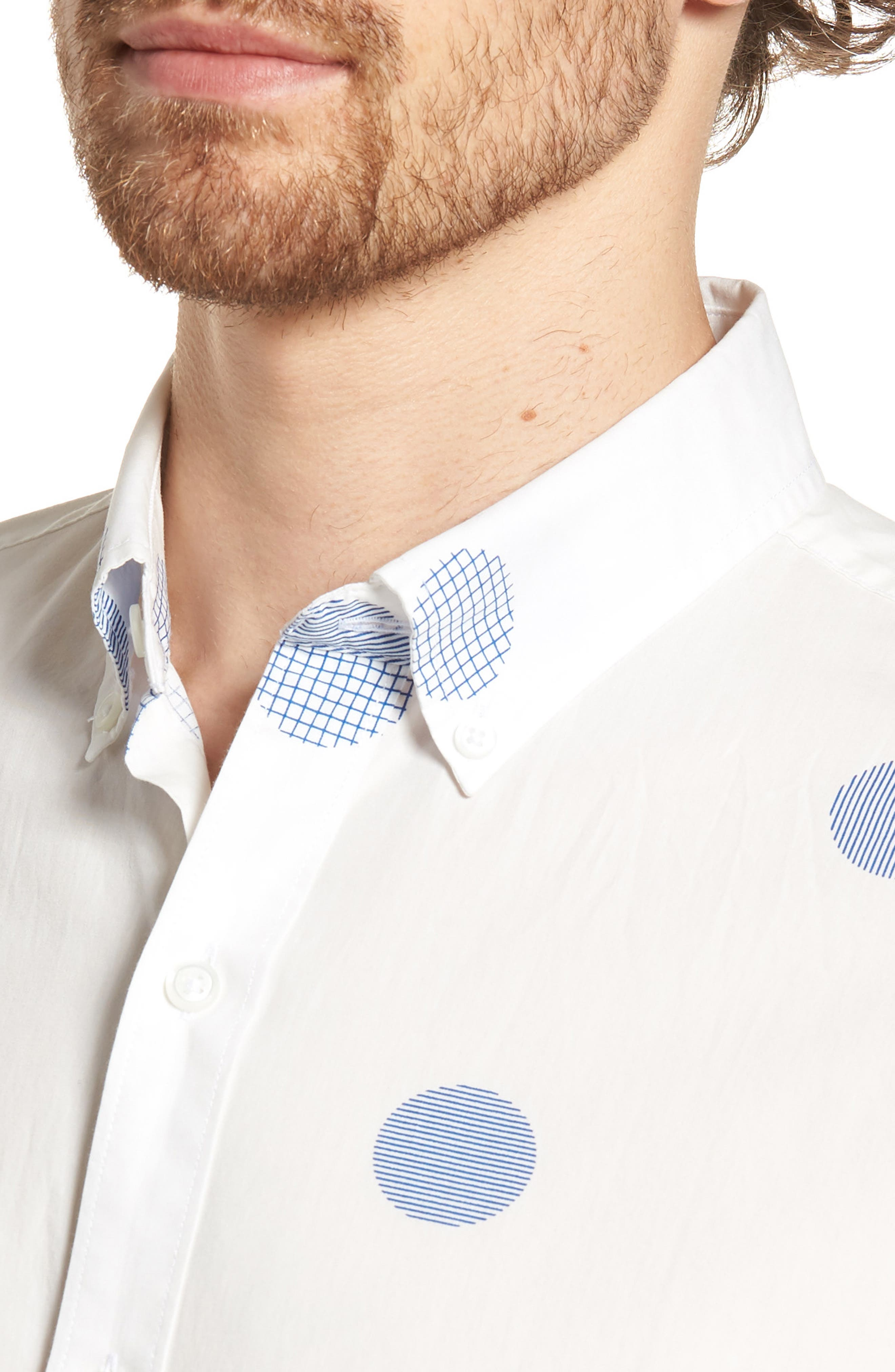 Slim Fit Polka Dot Sport Shirt,                             Alternate thumbnail 4, color,                             400