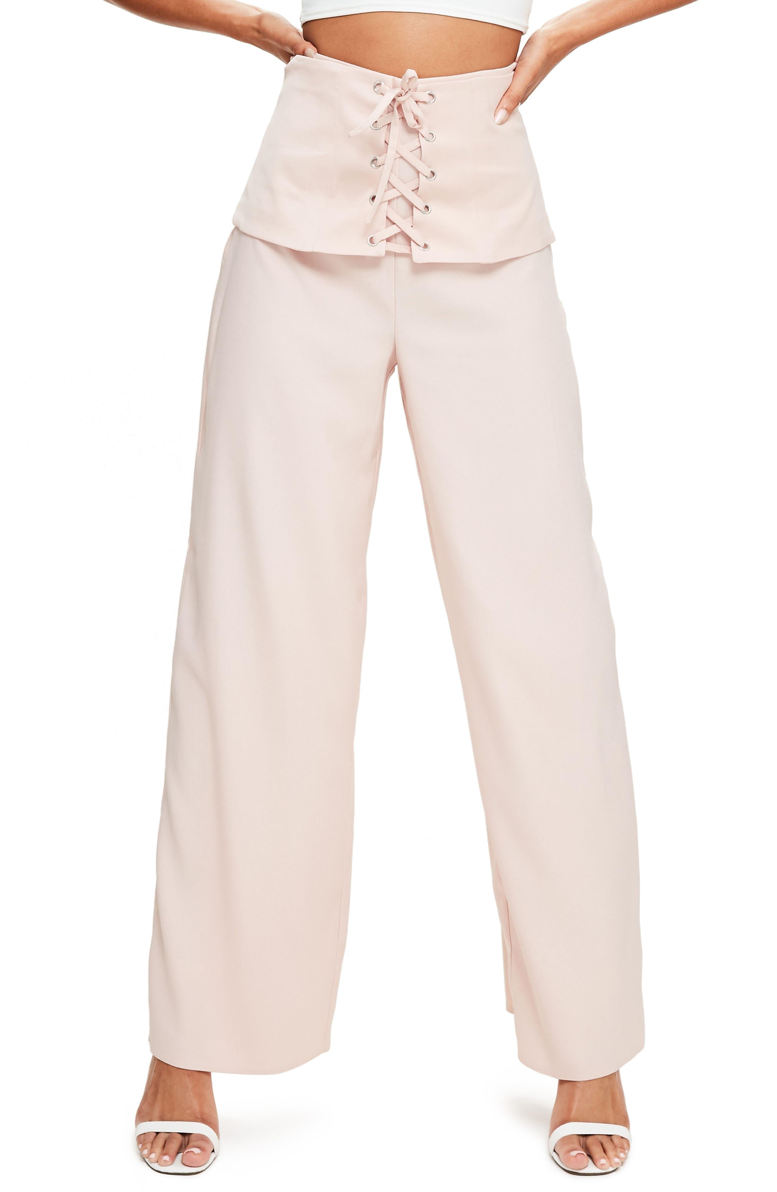 Corset Waist Crepe Pants,                         Main,                         color, 690
