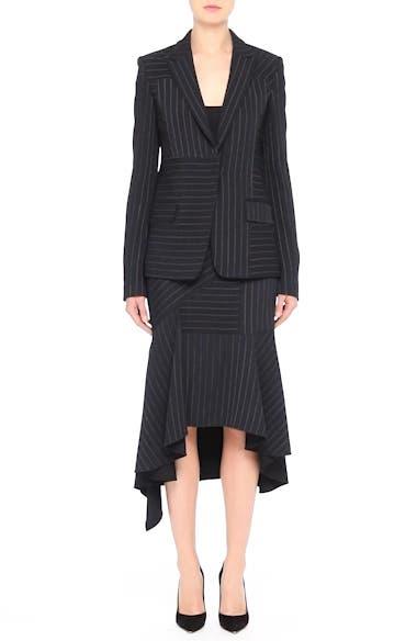 Pinstripe Stretch Asymmetrical Skirt, video thumbnail