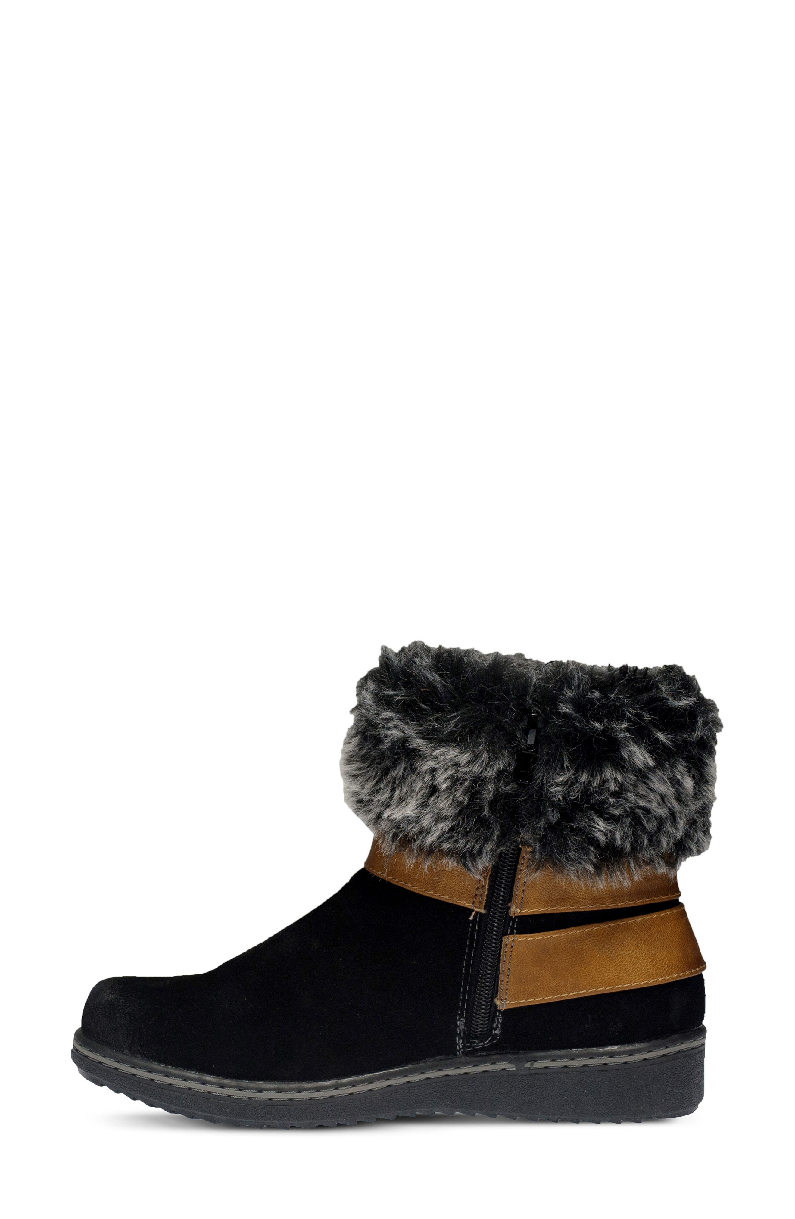 Popsicle Water Resistant Faux Fur Bootie,                             Alternate thumbnail 6, color,                             BLACK SUEDE