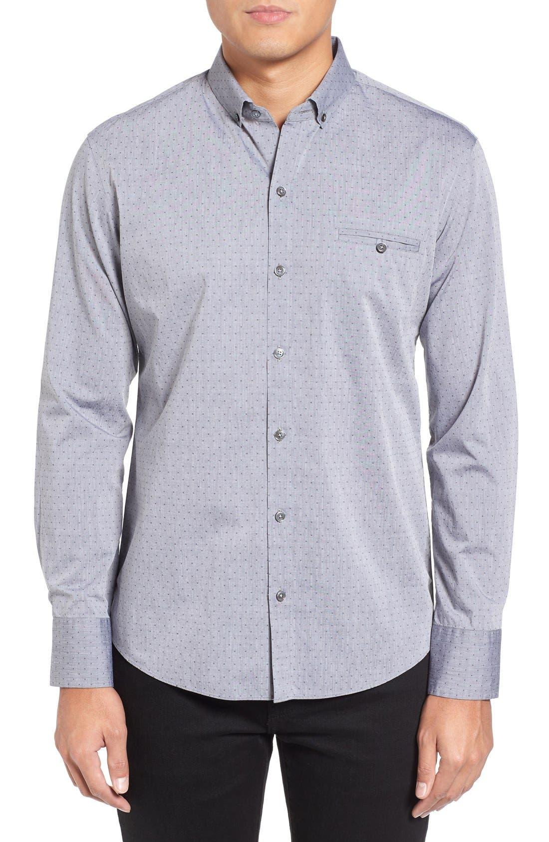 Yama Trim Fit Geometric Sport Shirt,                             Main thumbnail 1, color,
