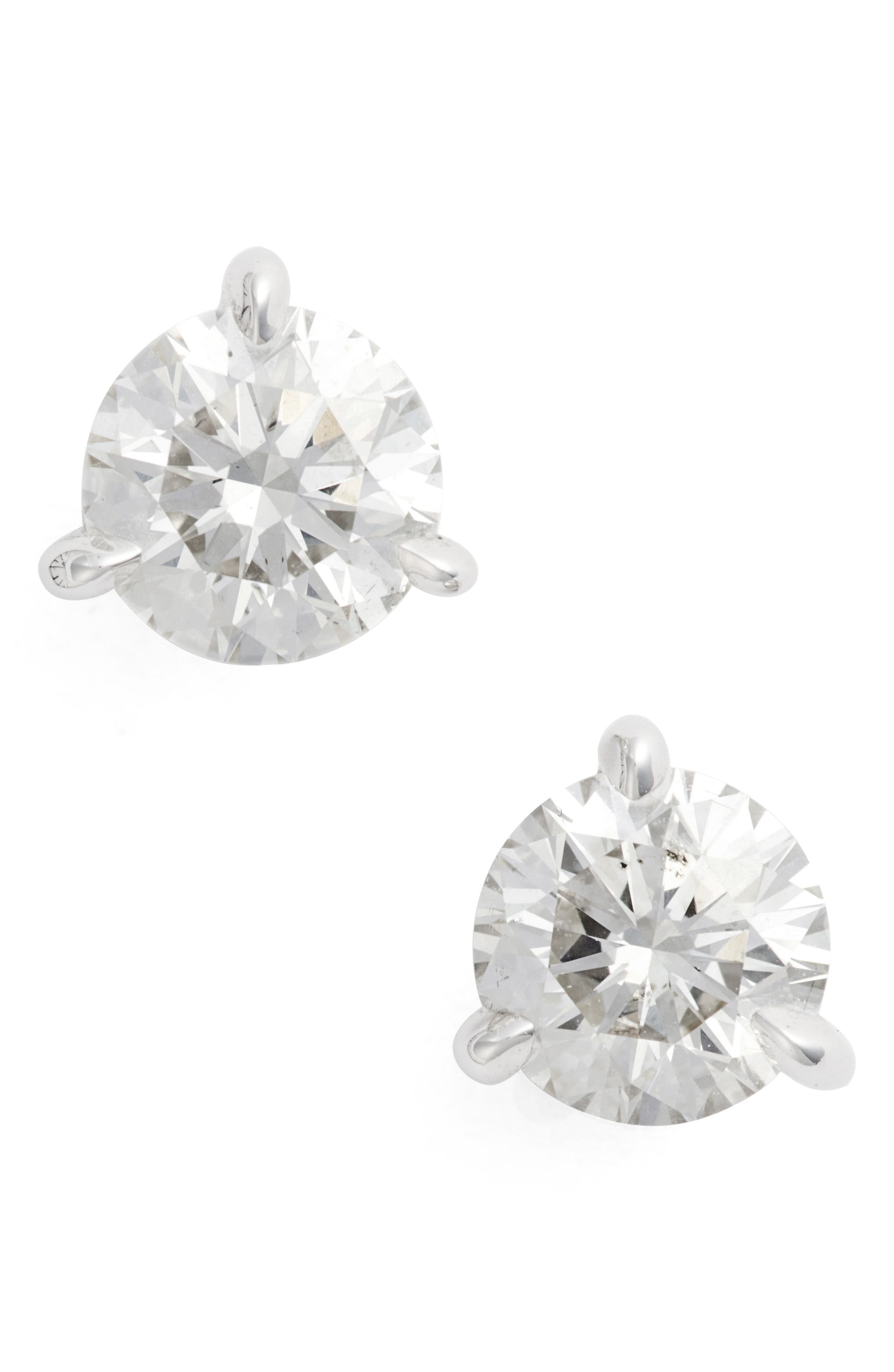 1.50ct tw Diamond & Platinum Stud Earrings,                             Alternate thumbnail 2, color,                             PLATINUM