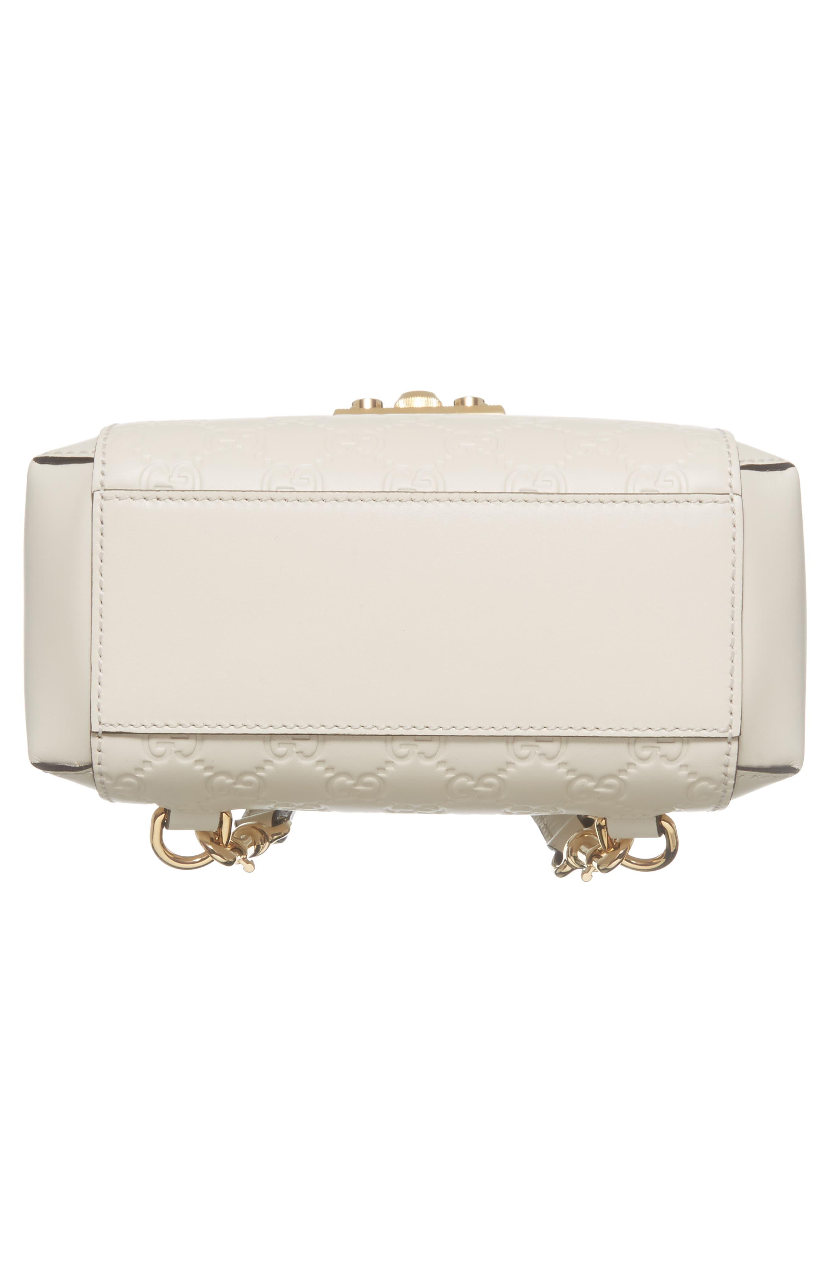 GG Supreme Leather Padlock Backpack,                             Alternate thumbnail 6, color,                             MYSTIC WHITE/ MYSTIC WHITE