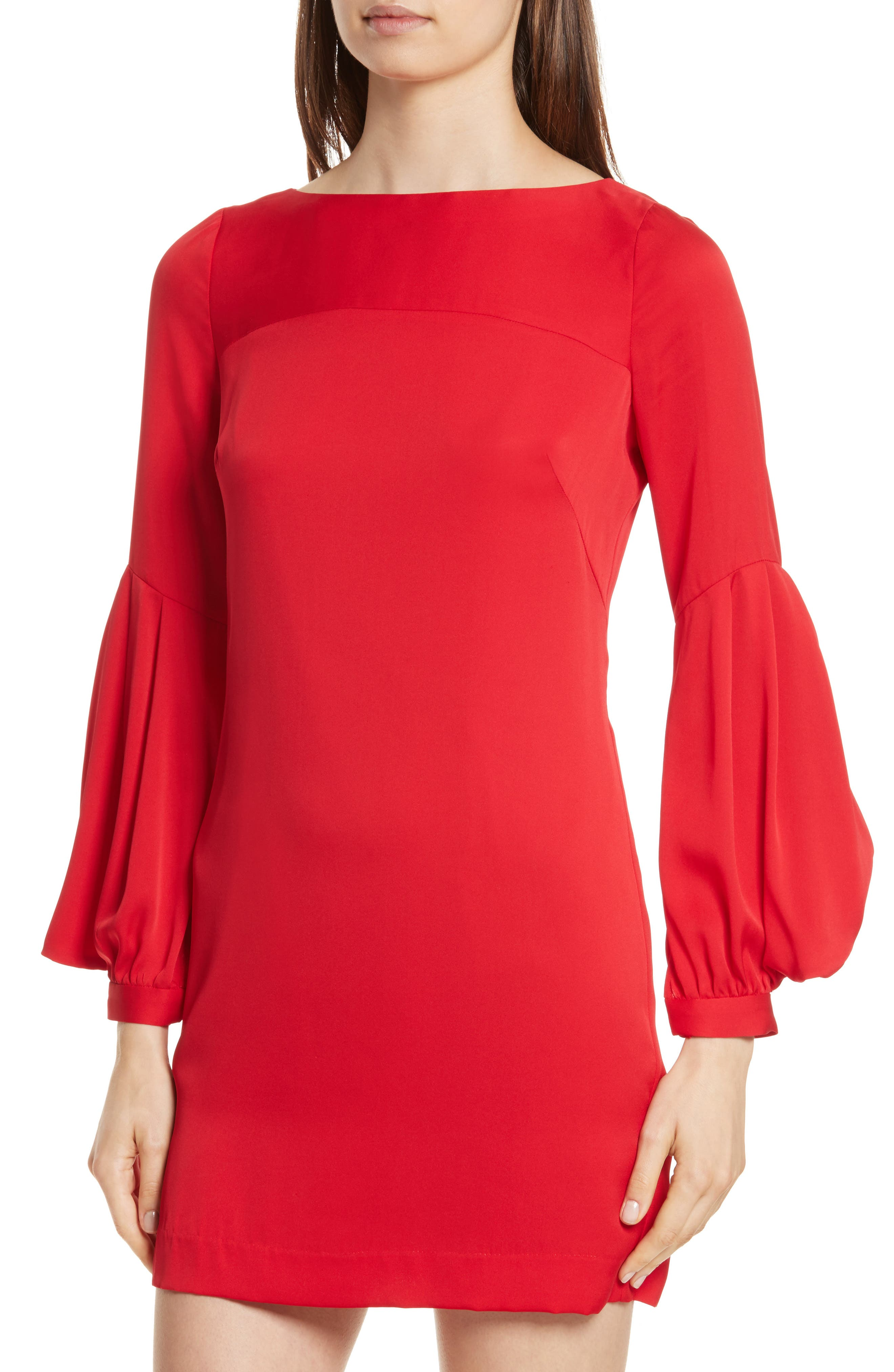 Shana Stretch Silk Bishop Sleeve Dress,                             Alternate thumbnail 4, color,                             649