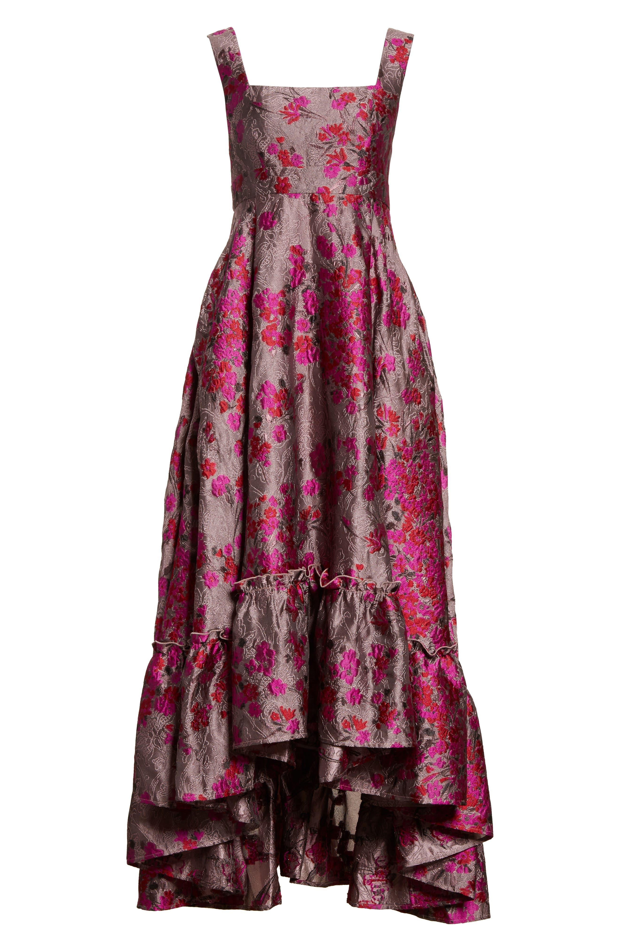 Metallic Jacquard Midi Dress,                             Alternate thumbnail 6, color,                             651