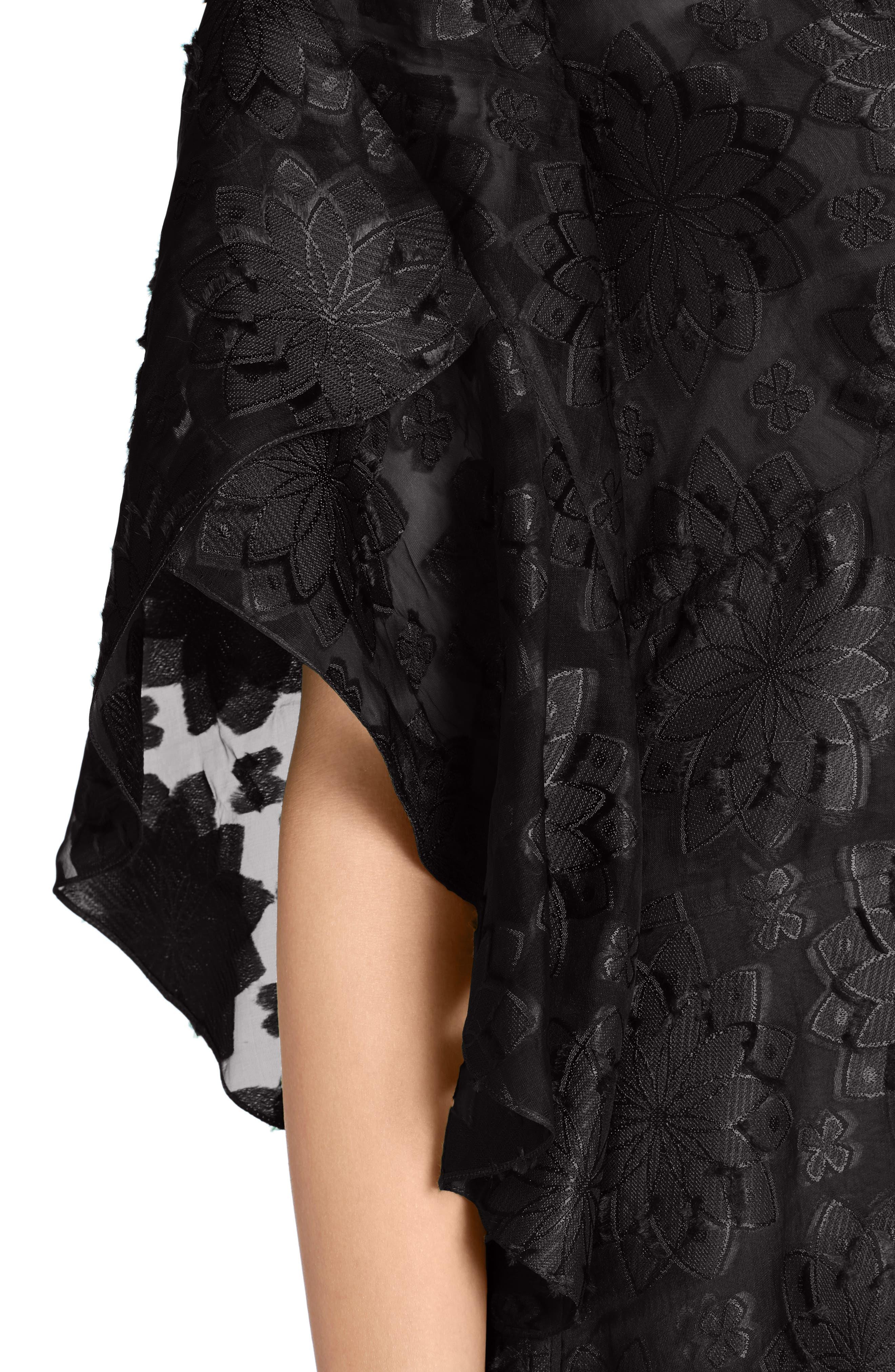 Daisy Fil Coupé Midi Dress,                             Alternate thumbnail 4, color,                             001