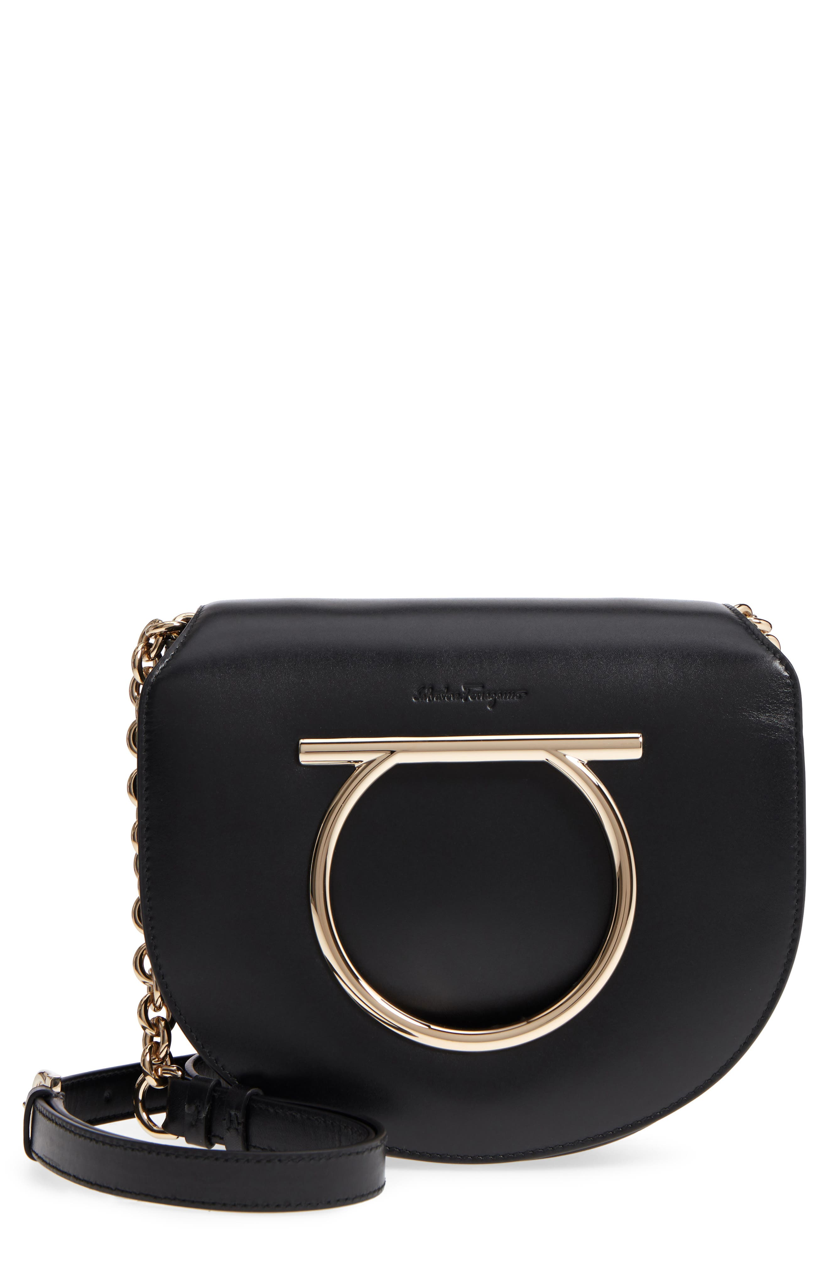 Leather Crossbody Bag,                         Main,                         color, NERO