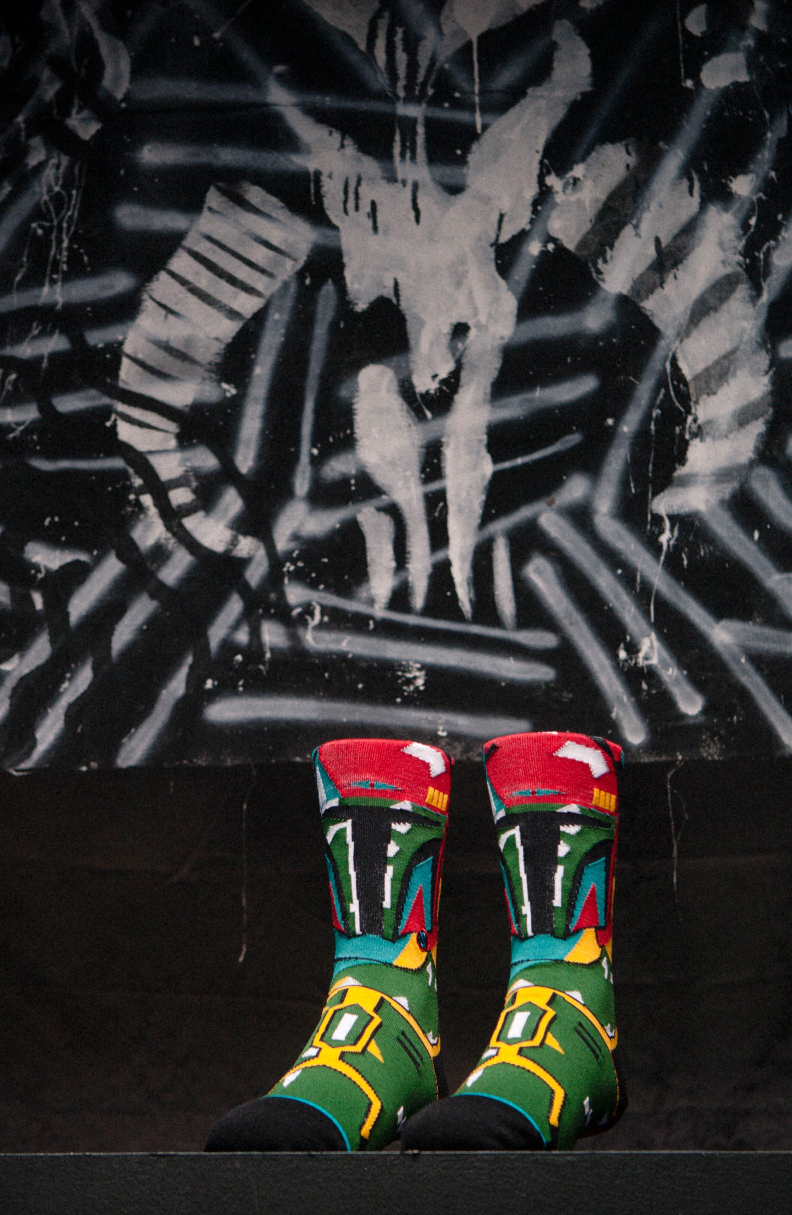 x Star Wars Boba Mosaic Socks,                             Alternate thumbnail 4, color,                             001